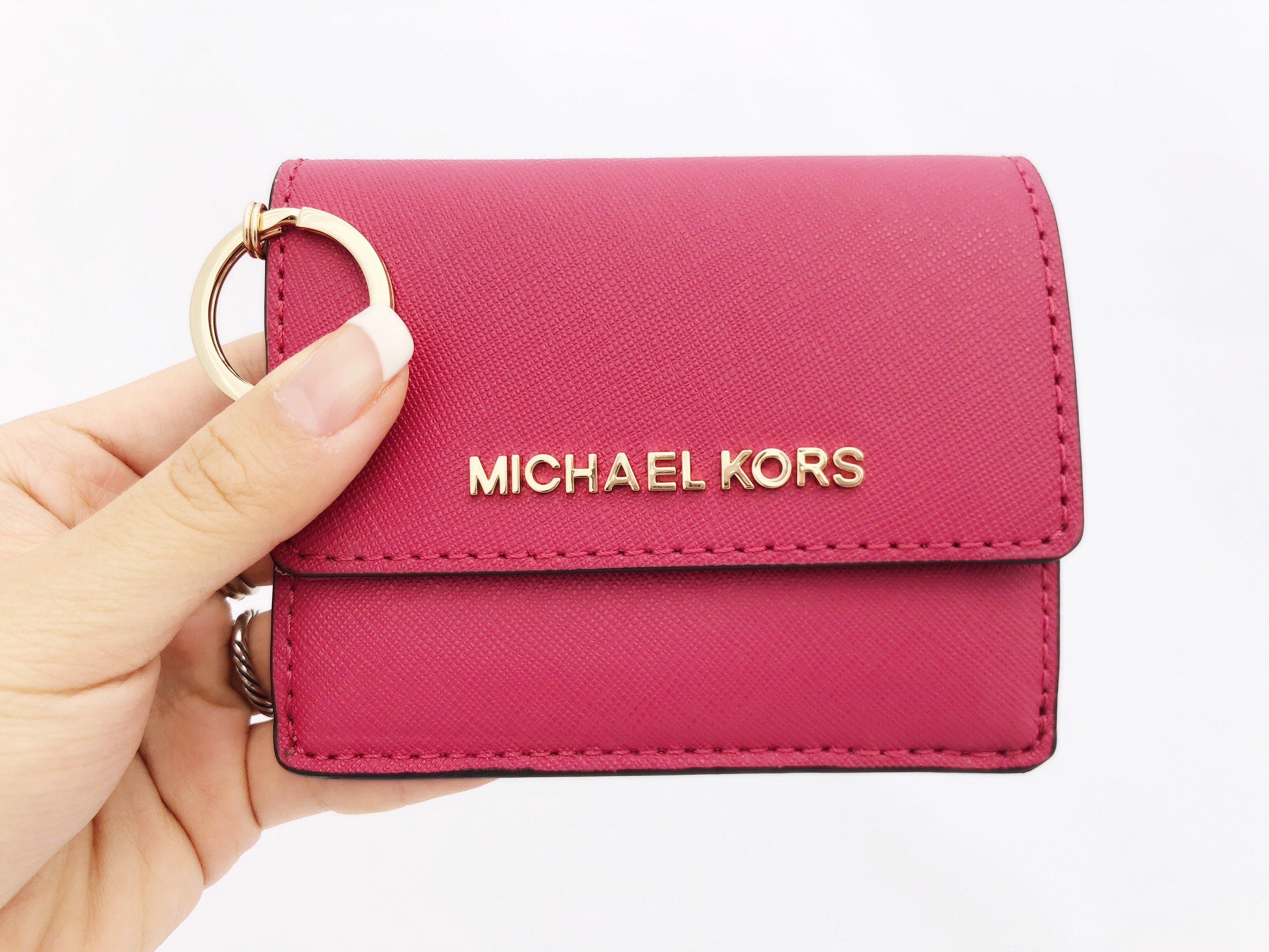 michael kors jet set card holder key ring chain id lipstick pink rh ebay com au