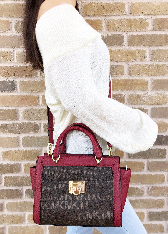 71d5e7df56a2 Michael Kors Tina Small Top Zip Satchel Handbag Crossbody Brown MK ...