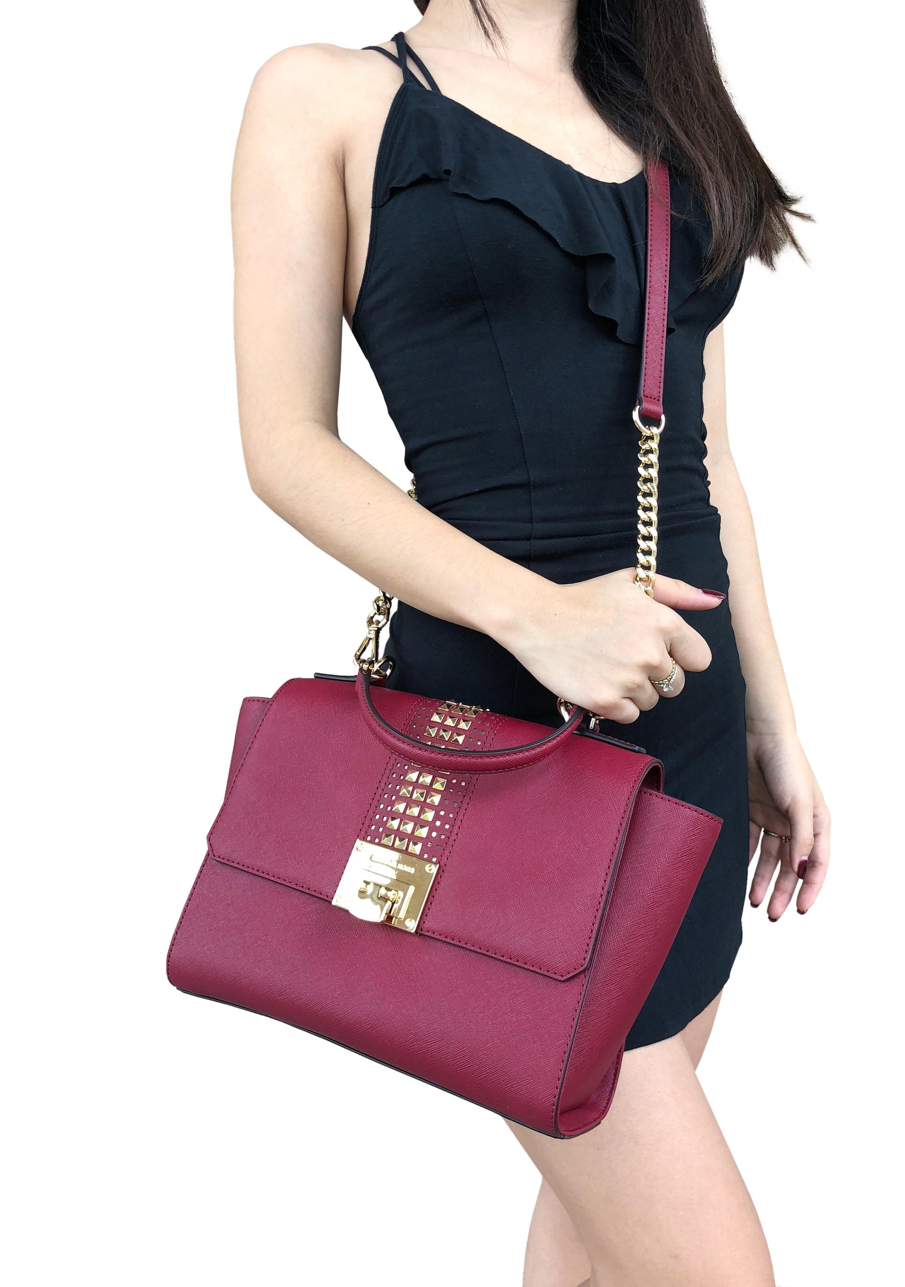 0e032013576c NWT Michael Kors Tina Studded East West Satchel Bag Flap Crossbody Cherry  Red