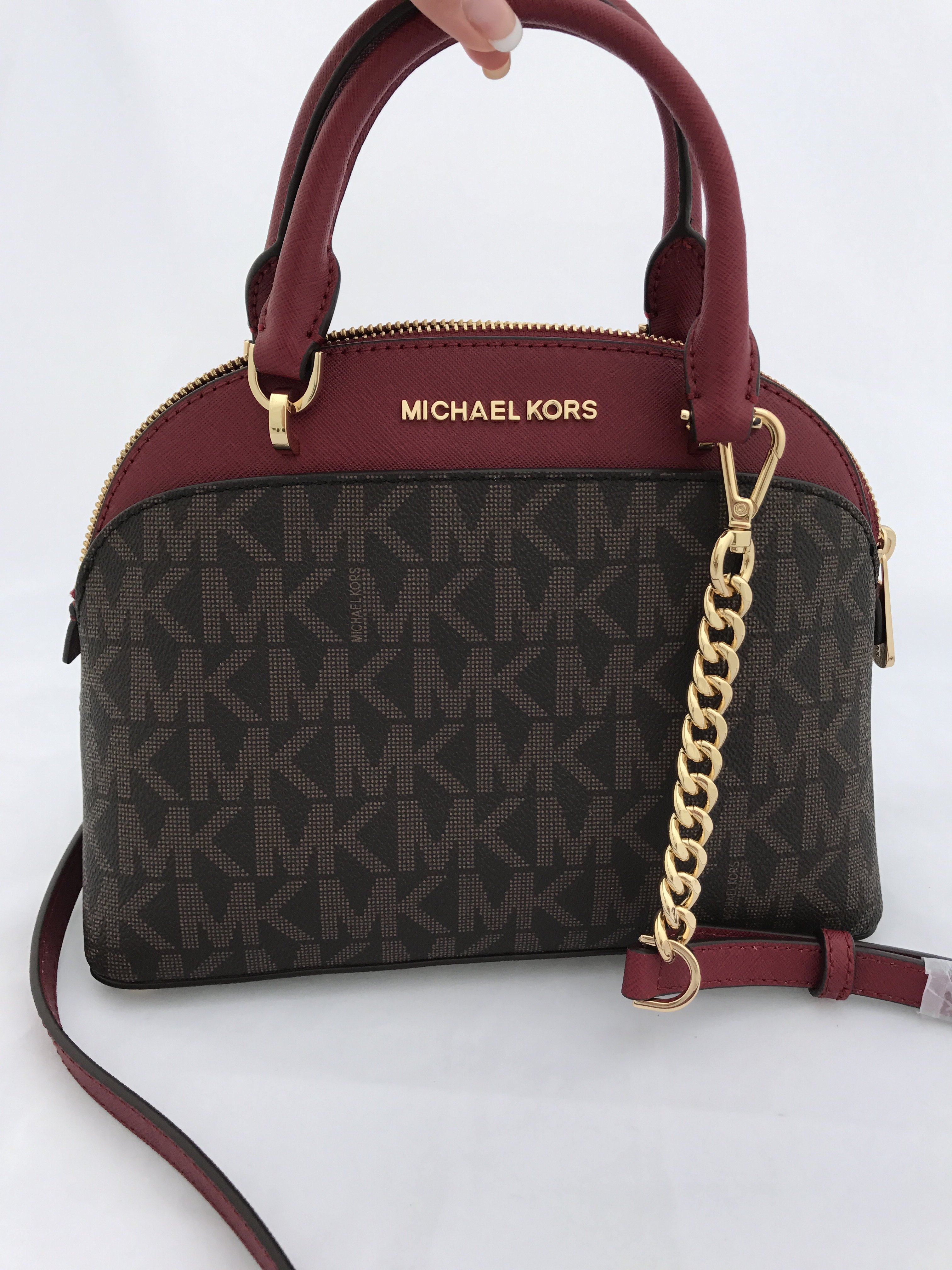 dd5aa88eba01 NWT Michael Kors Emmy Small Dome Satchel Crossbody Brown Signature ...