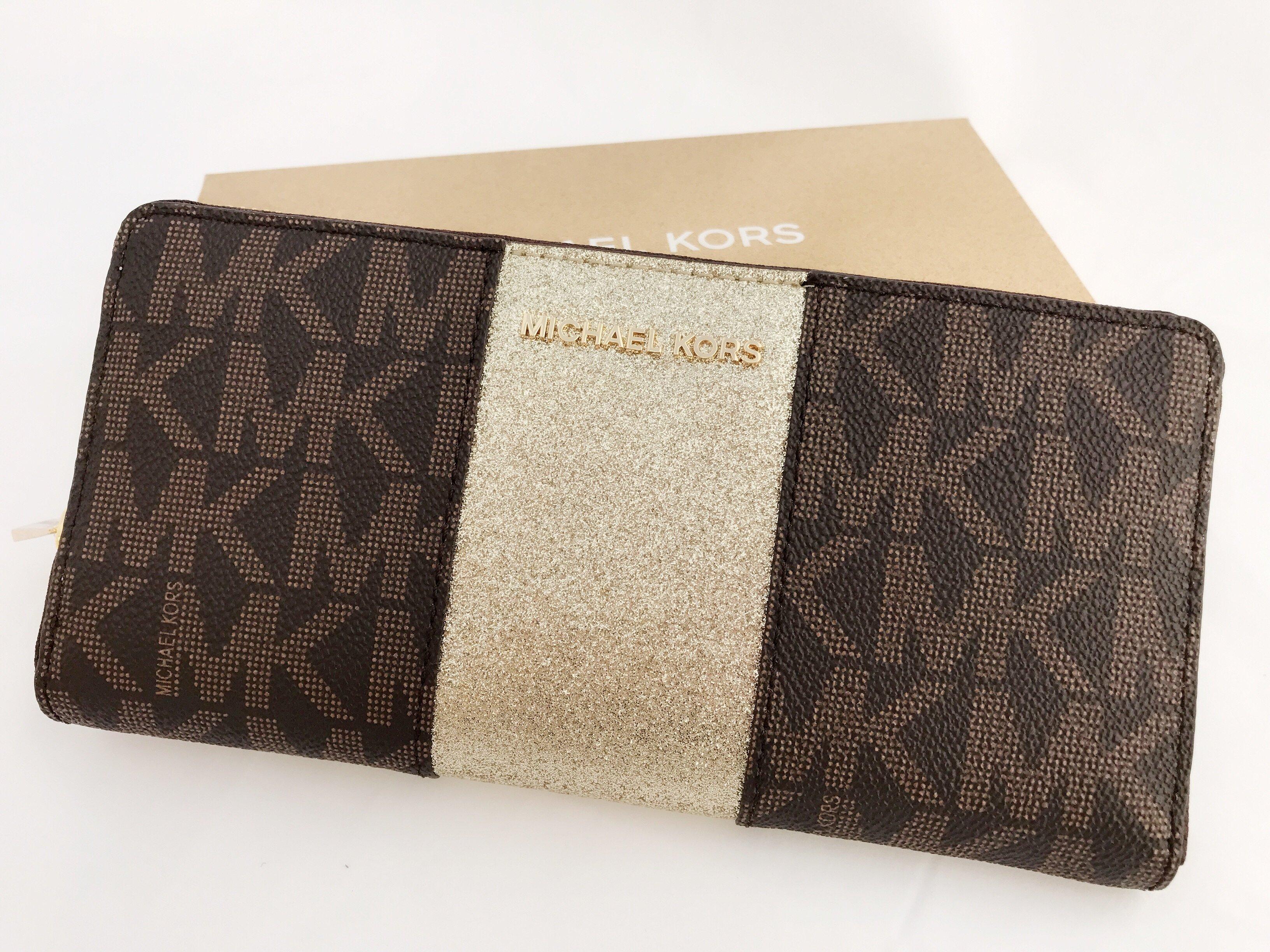 cd450d59b572c Michael Kors Jet Set Travel Center Stripe Continental Wallet Brown MK Gold  BOX