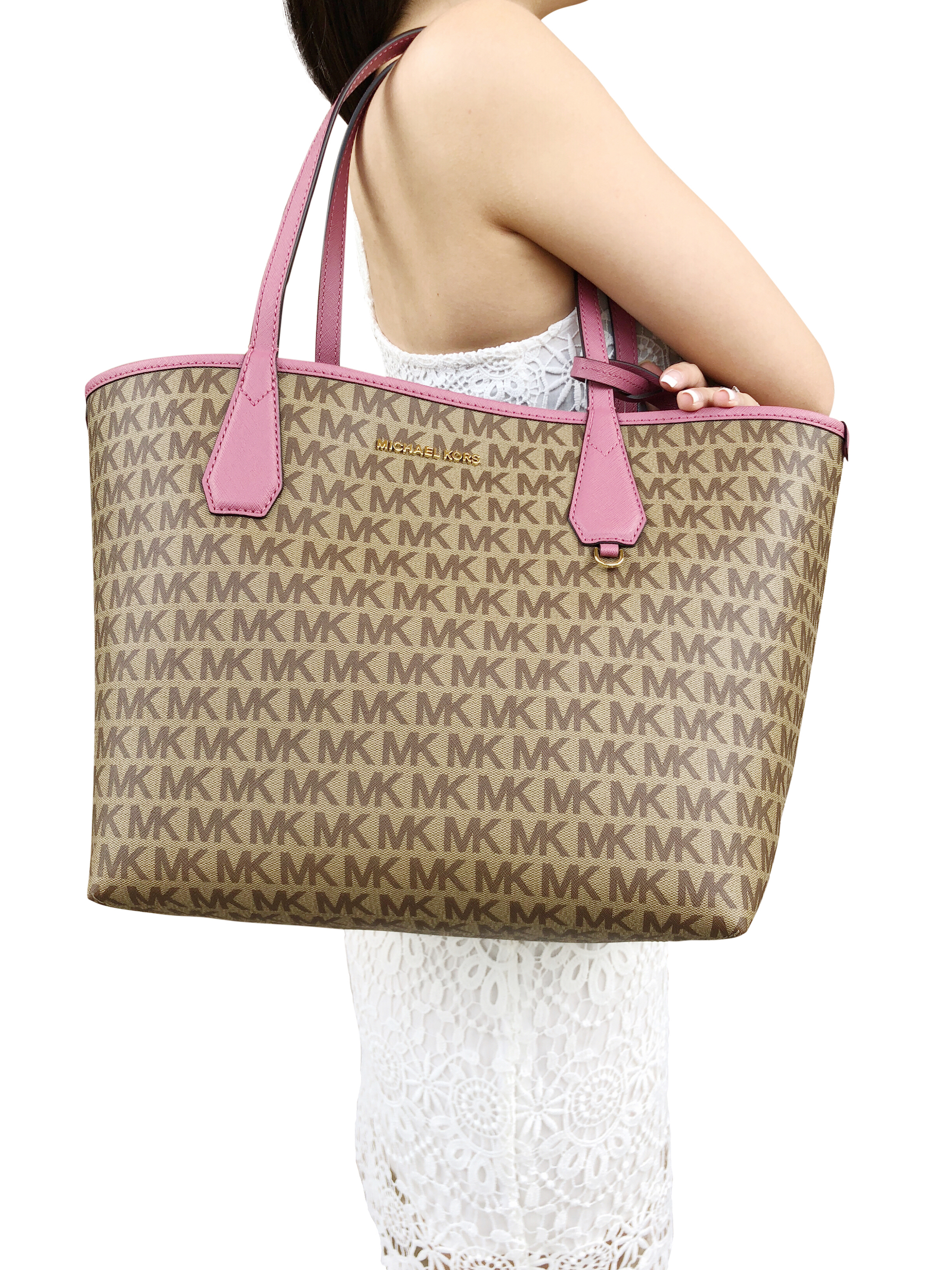 13ddacdfa68f Michael Kors Candy Large Reversible Tote Brown Khaki Signature Tulip Pink  Pouch
