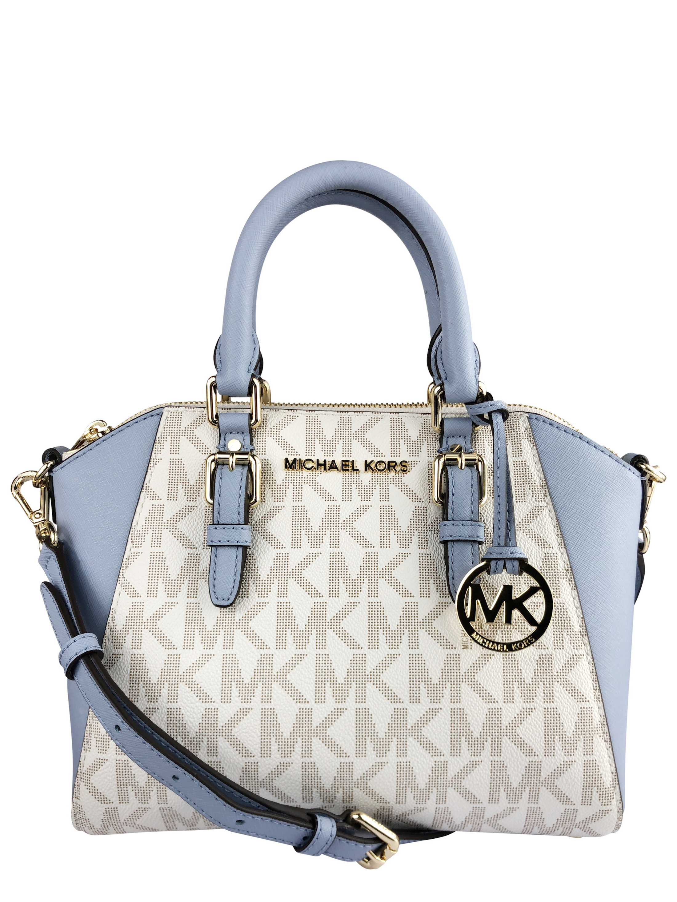 bdc85f5a1fbf ... where can i buy michael kors ciara medium messenger vanilla mk pale  blue crossbody small bag