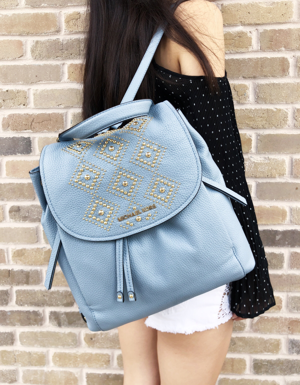 ba74b68e1b77 Michael Kors Riley Large Leather Backpack Pale Blue Gold Studded ...