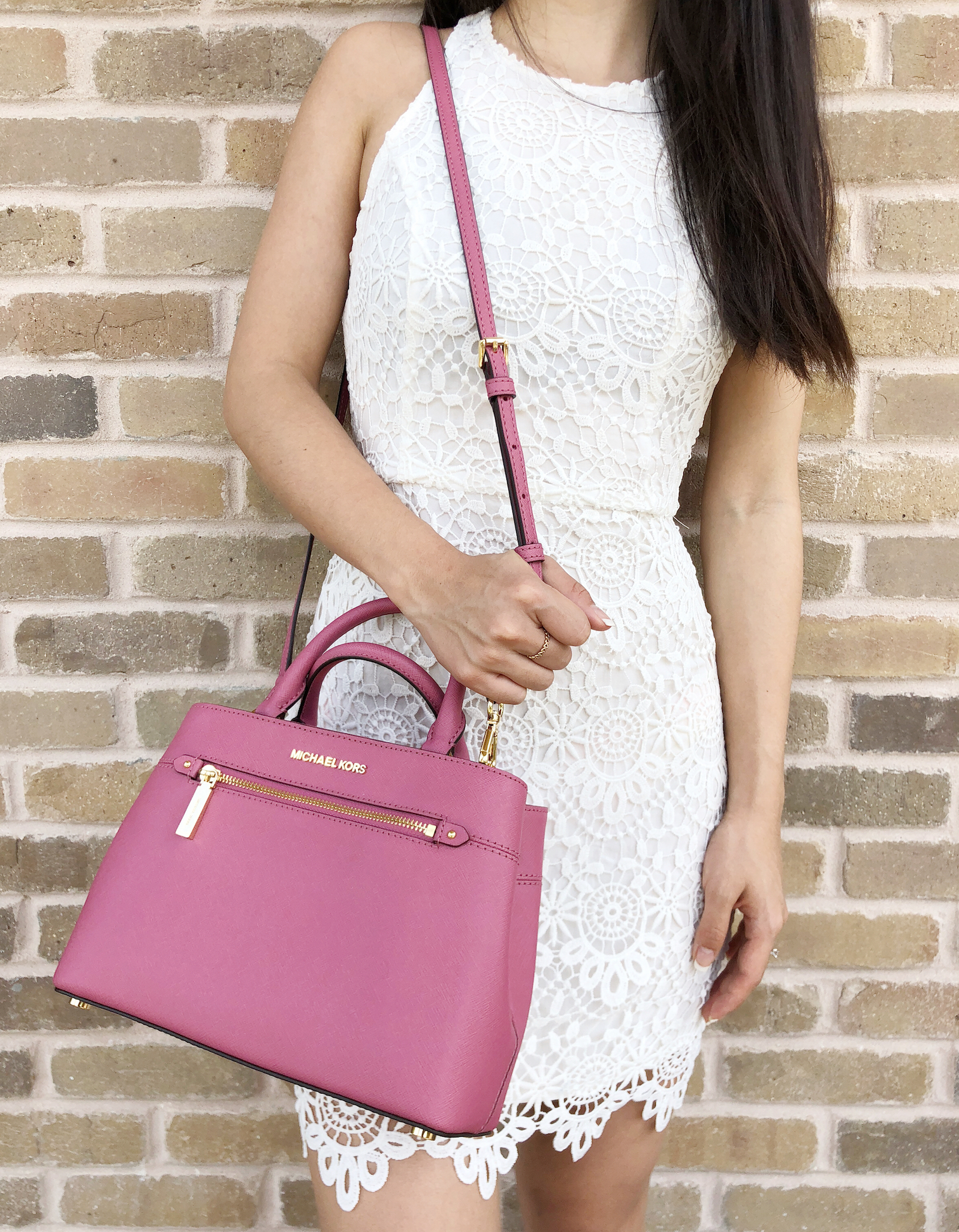 62c55c093101 Michael Kors Hailee XS Satchel Small Crossbody Tulip Pink MISSING LONG STRAP
