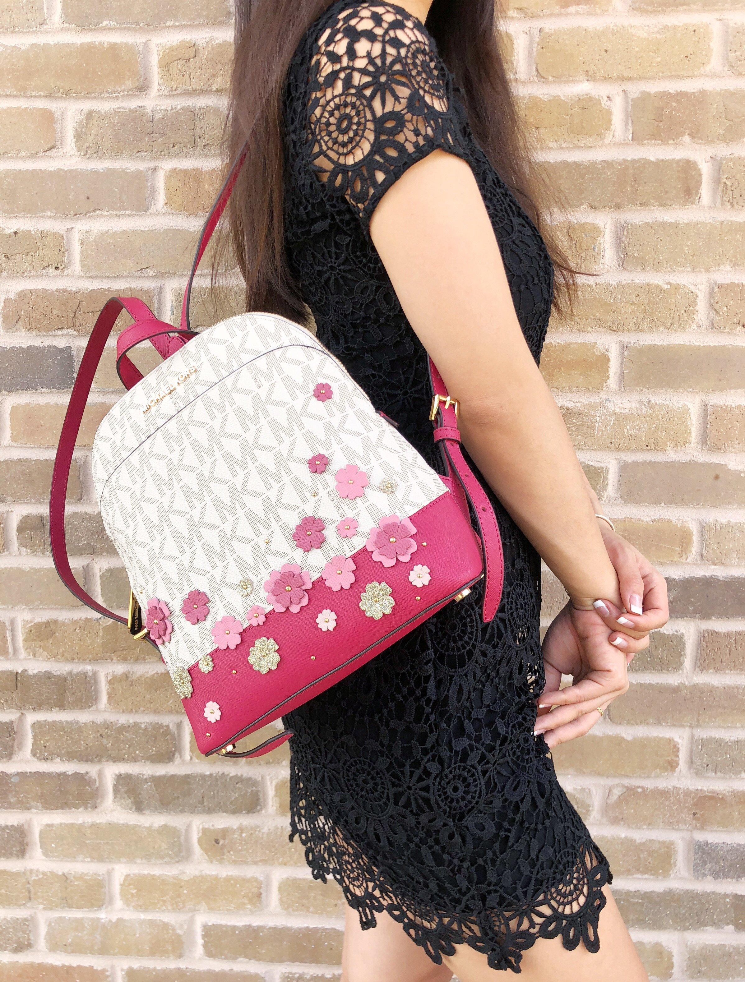 064e4844138c57 NWT Michael Kors Emmy Small Backpack Vanilla MK Signature Pink ...