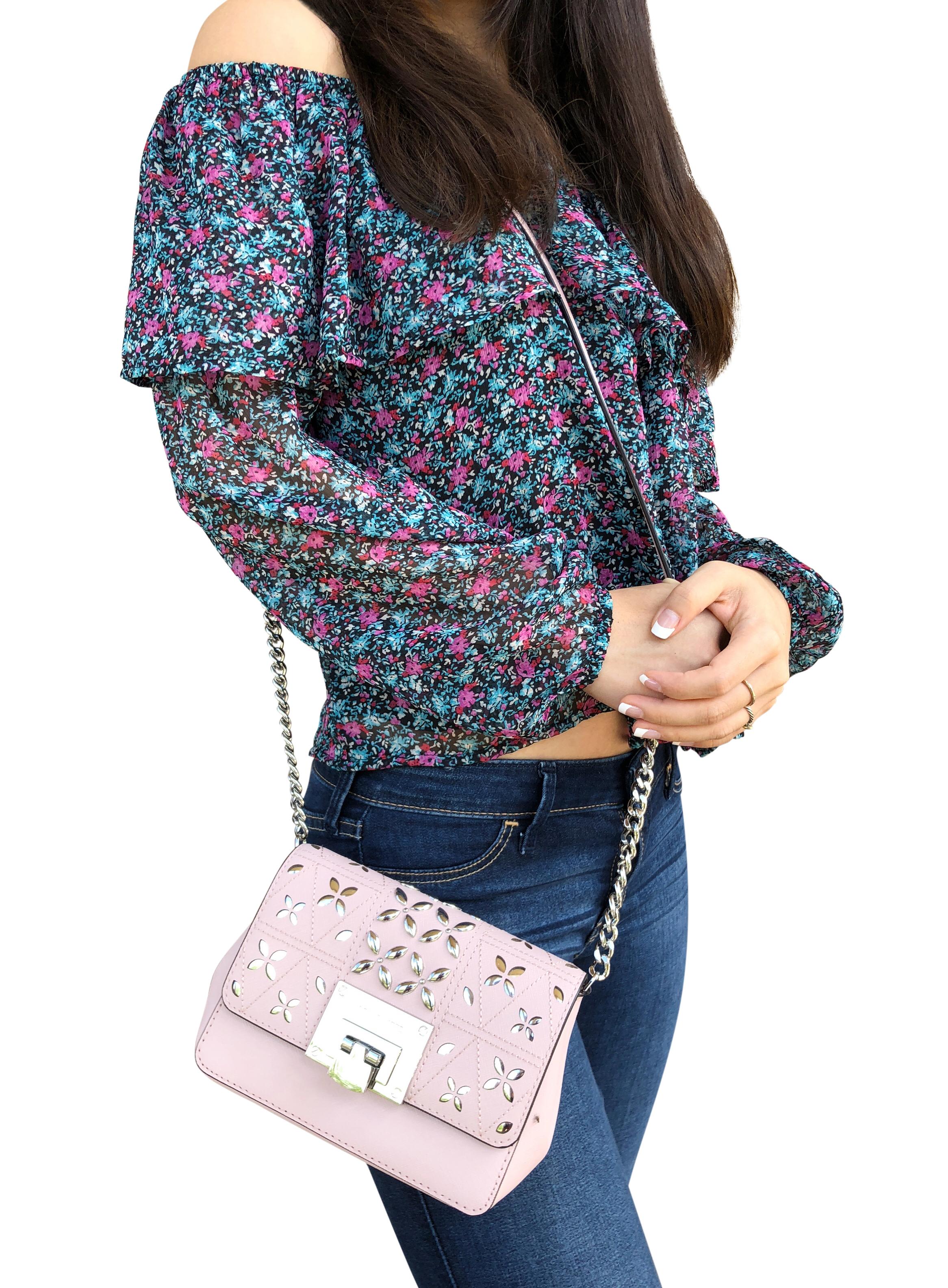b65e0f01abf3 Michael Kors Tina Stud Small Clutch Bag Crossody Blossom Pink Floral  Perforated