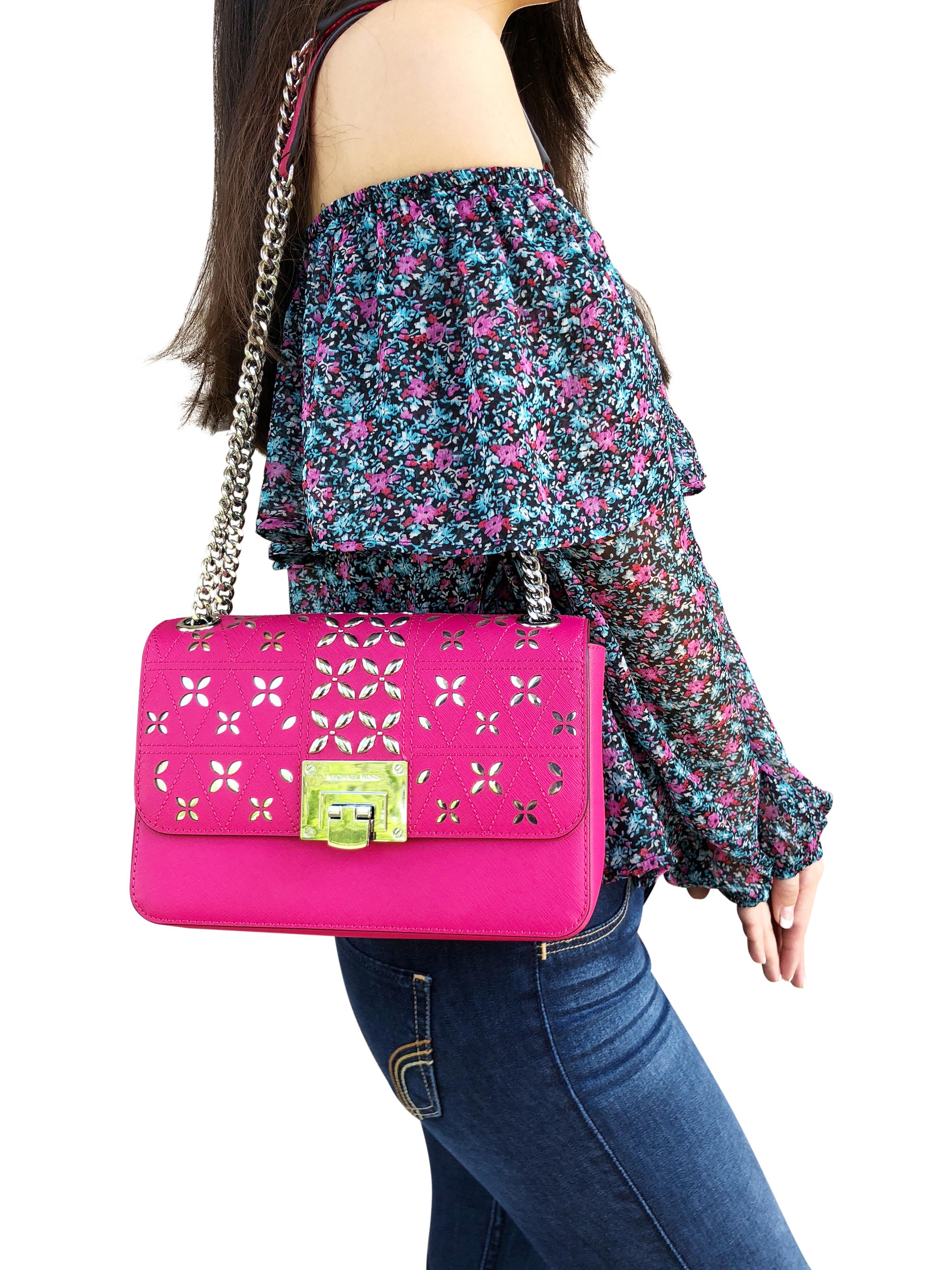 2cd8053ee3ed5d Michael Kors Tina Studded Medium Shoulder Flap Bag Crossody Ultra Pink  Lipstick