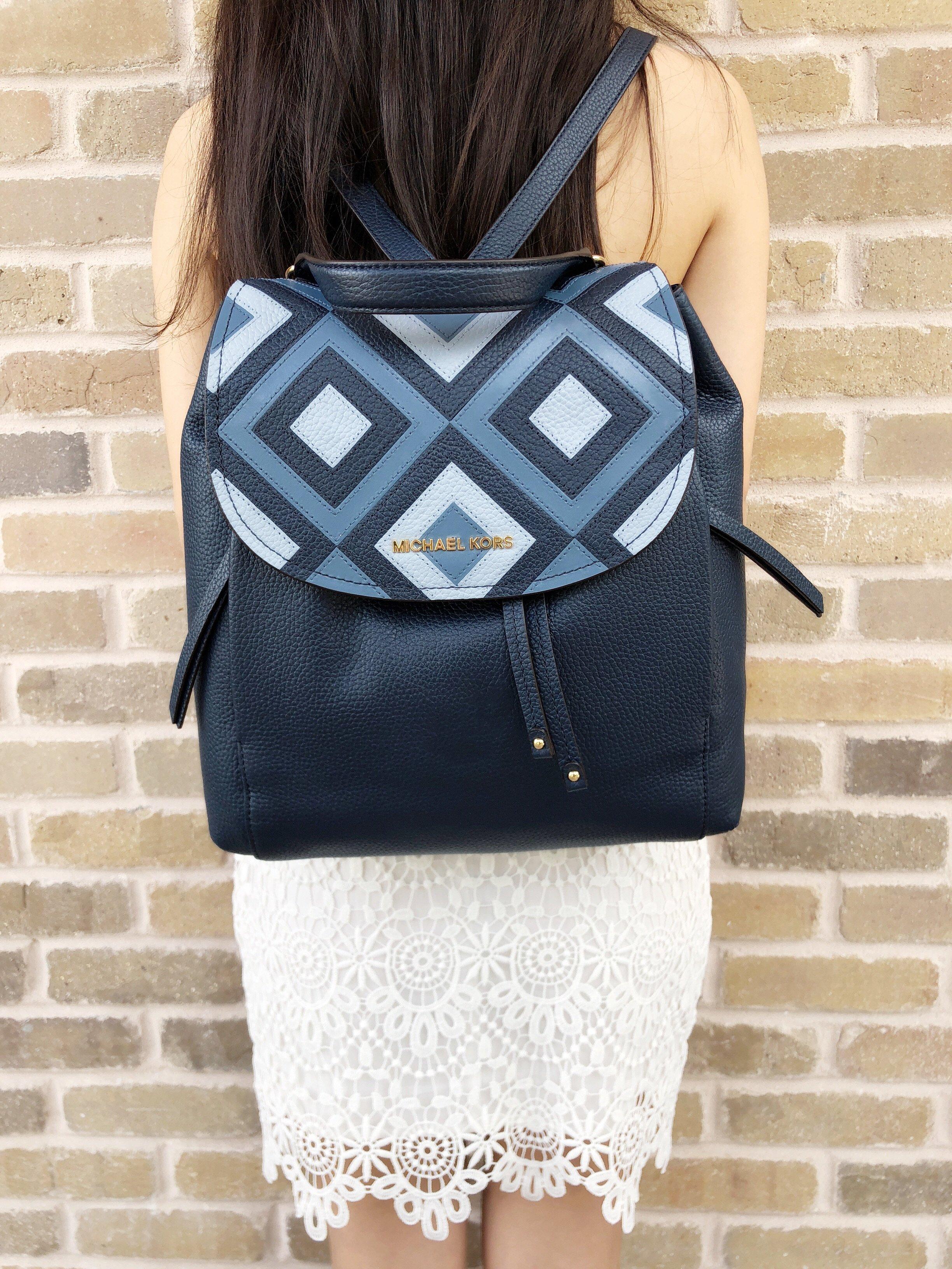928654a45501 Michael Kors Riley Large Leather Backpack Pale Blue Navy Drawstring Flap Bag