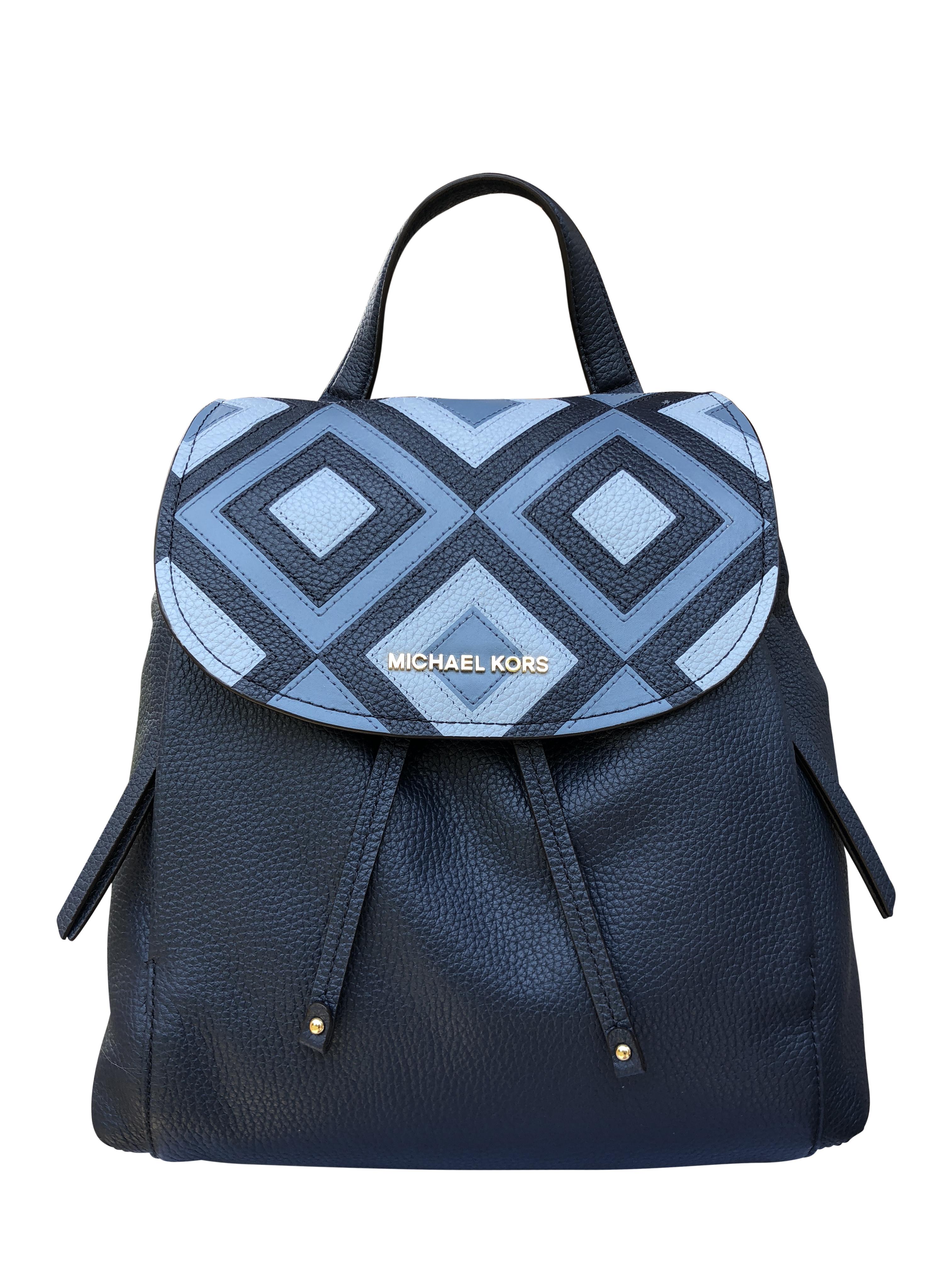 6fc17805aa5b Michael Kors Riley Large Leather Backpack Pale Blue Navy Drawstring Flap Bag