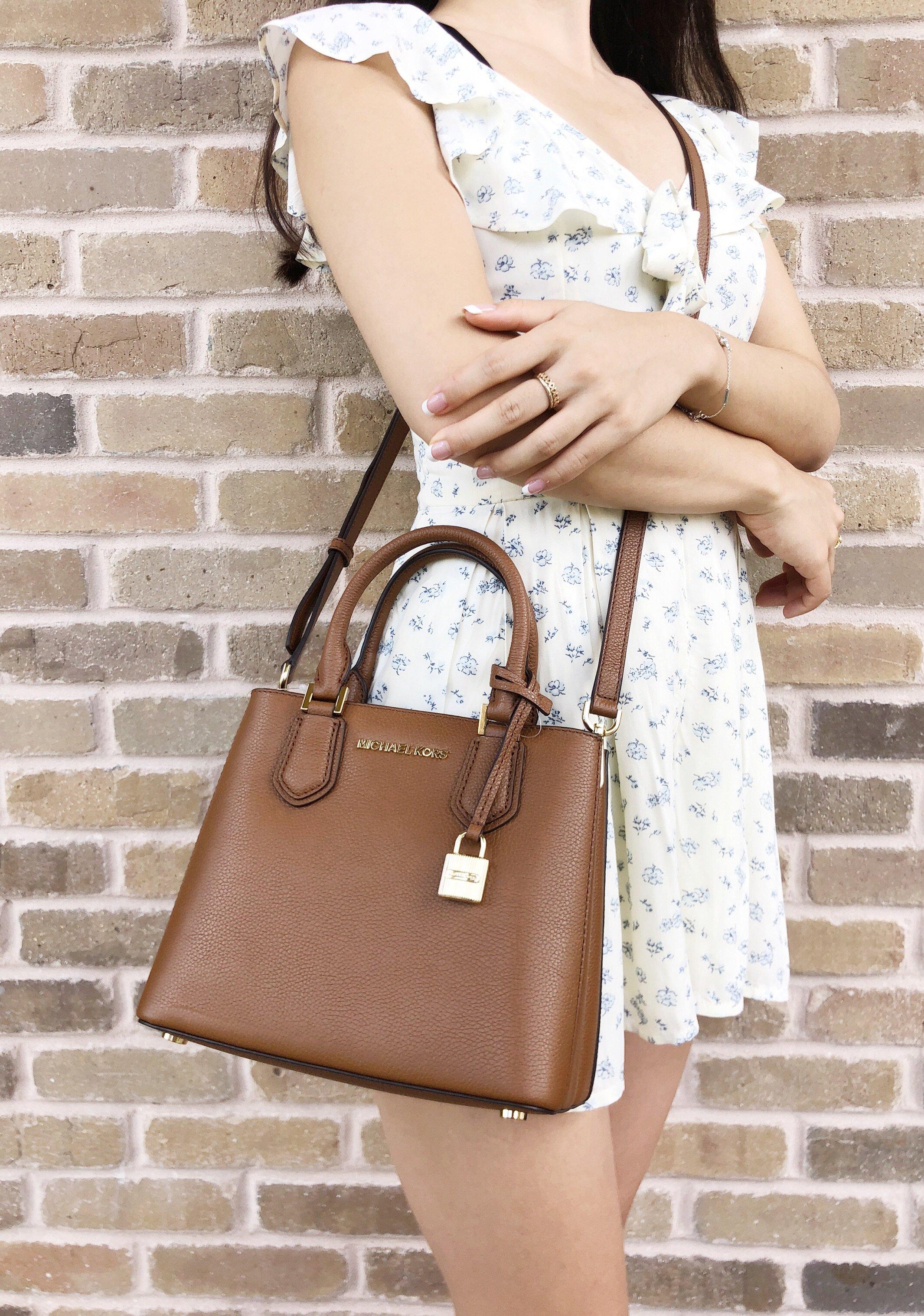 a88a708ee10a Michael Kors Adele Mercer Medium Messenger Bag Luggage Brown Satchel ...