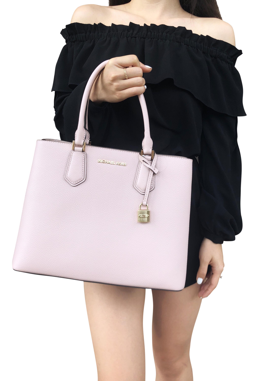 fcb299de6eb5 Michael Kors Adele Mercer Large Satchel Bag Blossom Ballet Pink ...