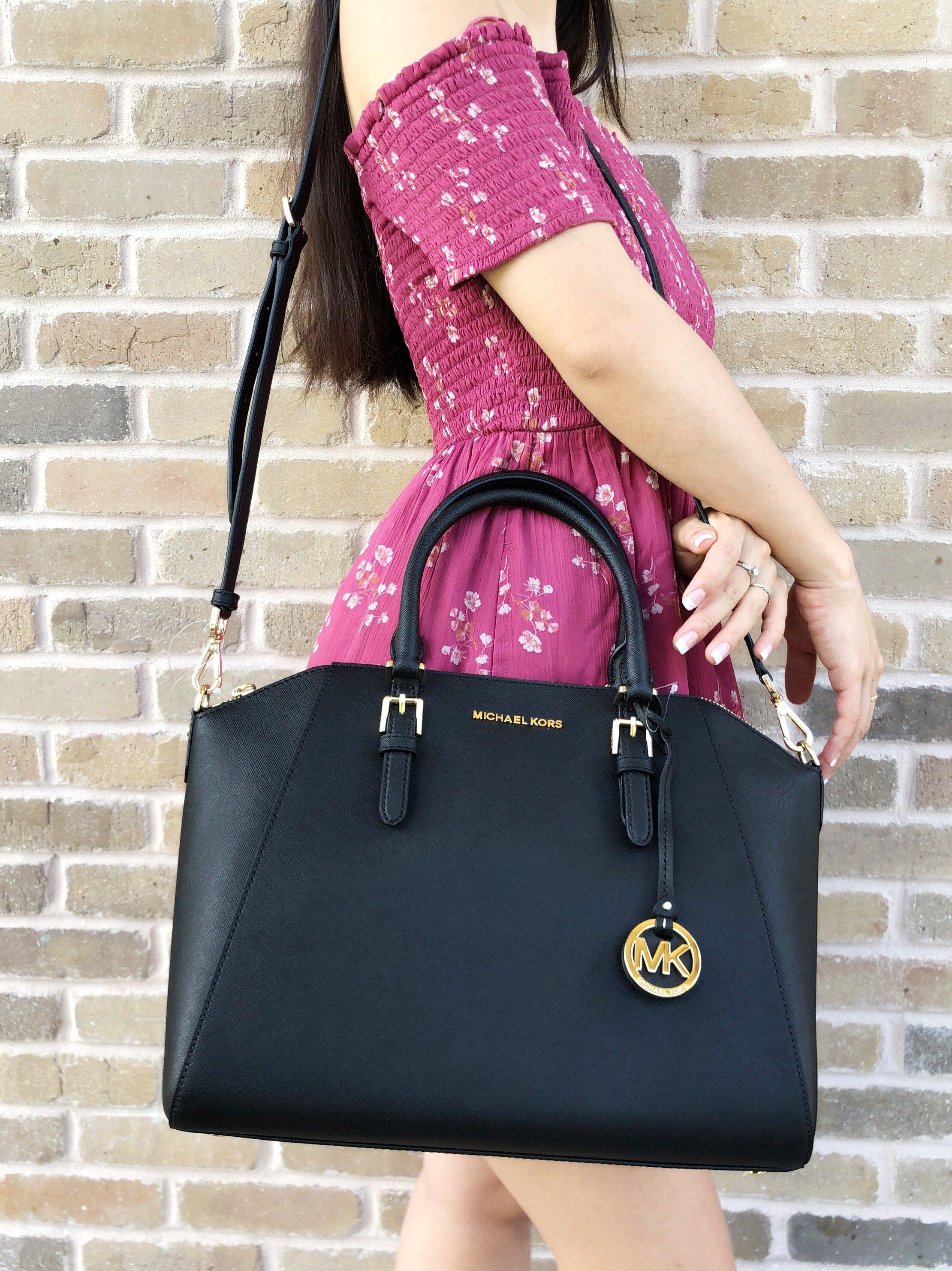 Details about Michael Kors Ciara Large Top Zip Satchel Saffiano Leather