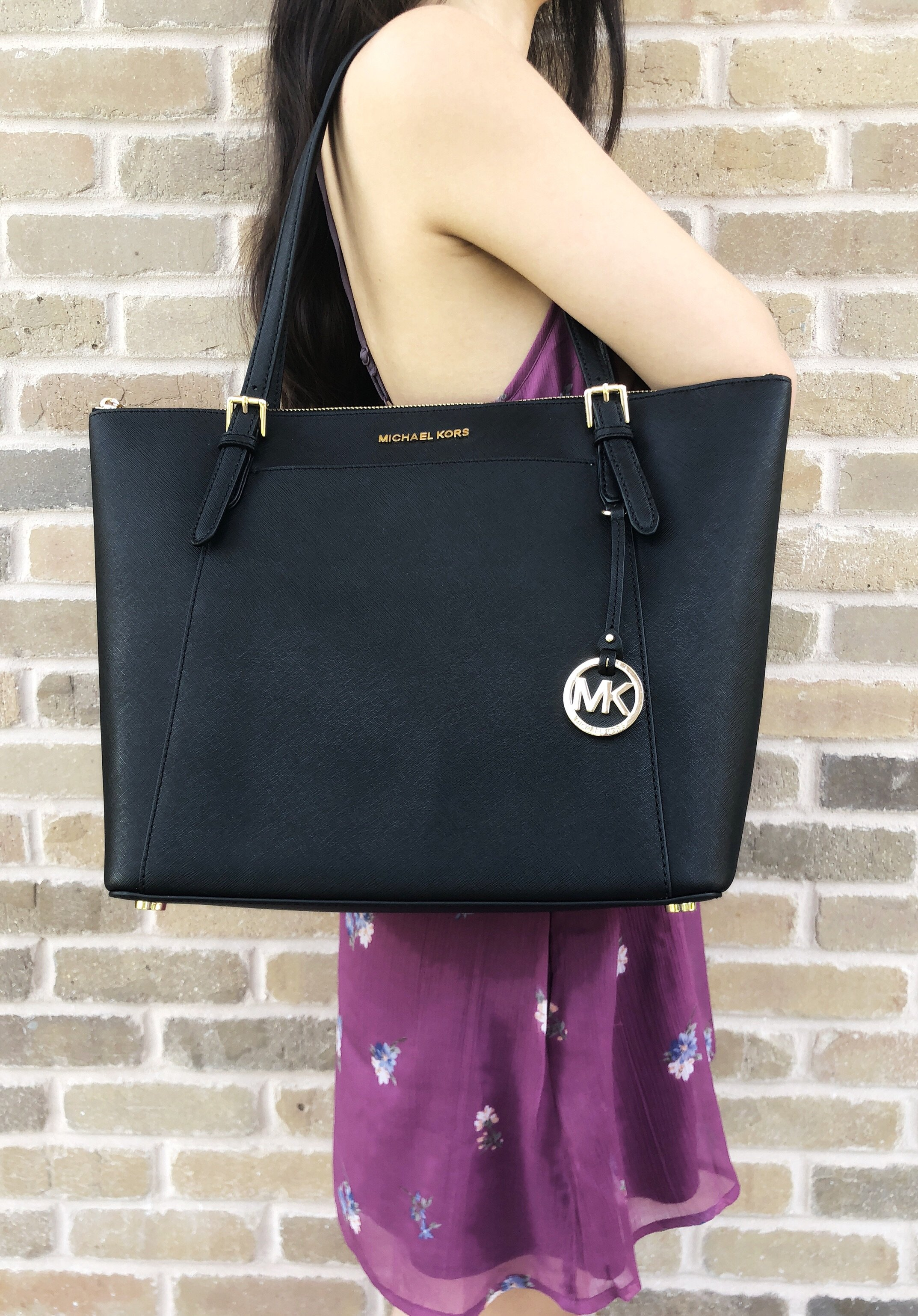 d250de3711f7 Michael Kors Ciara Large East West Top Zip Tote Black Saffiano ...