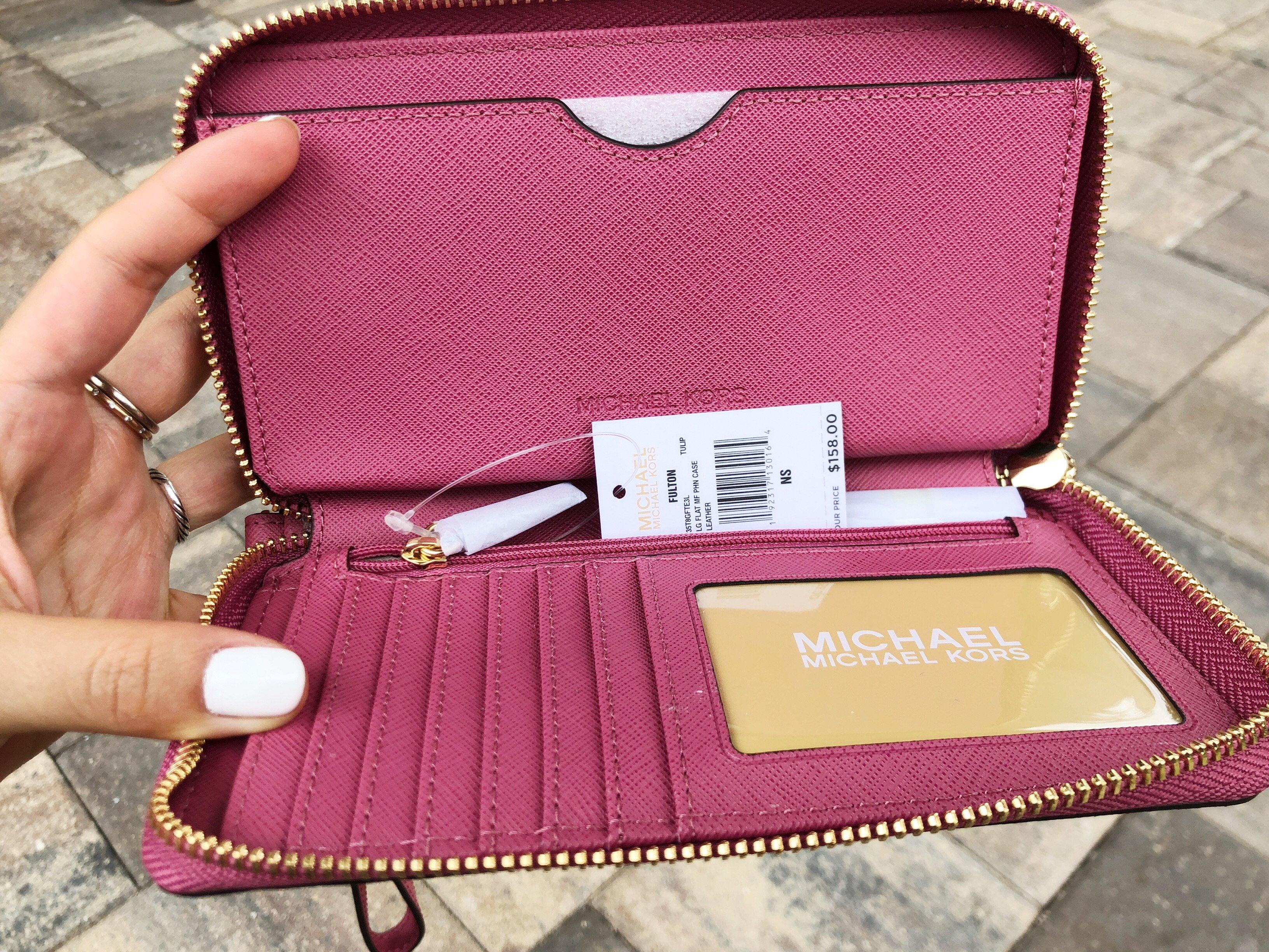 d03333784c25 Michael Kors Jet Set Travel Wallet Phone Wristlet Tulip Pink ...