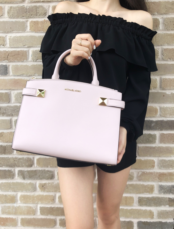 0f9c25ccbd8a Michael Kors Karla East West Medium Satchel Bag Blossom Pink ...