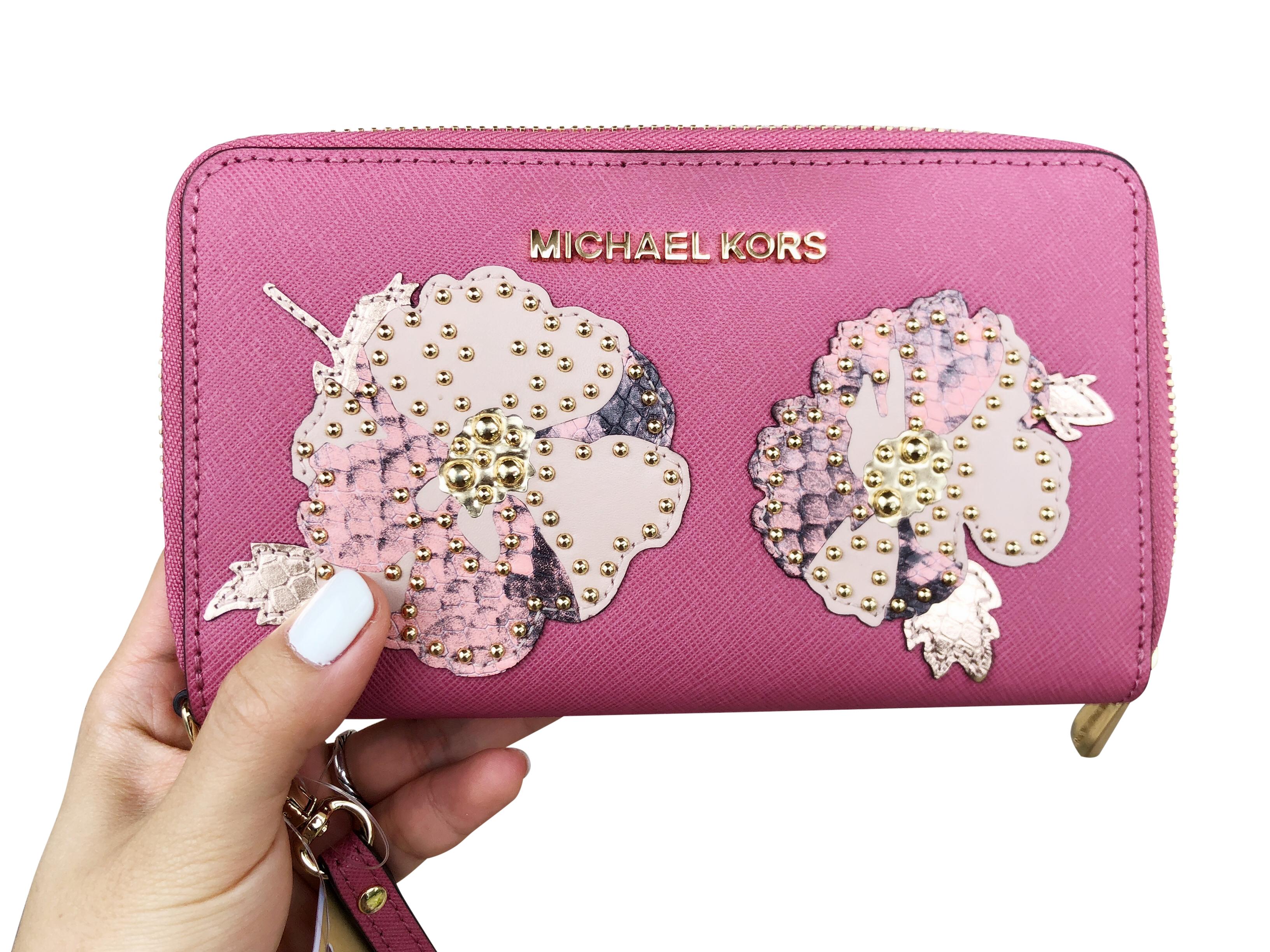 04c7272c0865 Michael Kors Jet Set Travel Wallet Phone Wristlet Tulip Pink Floral Studded
