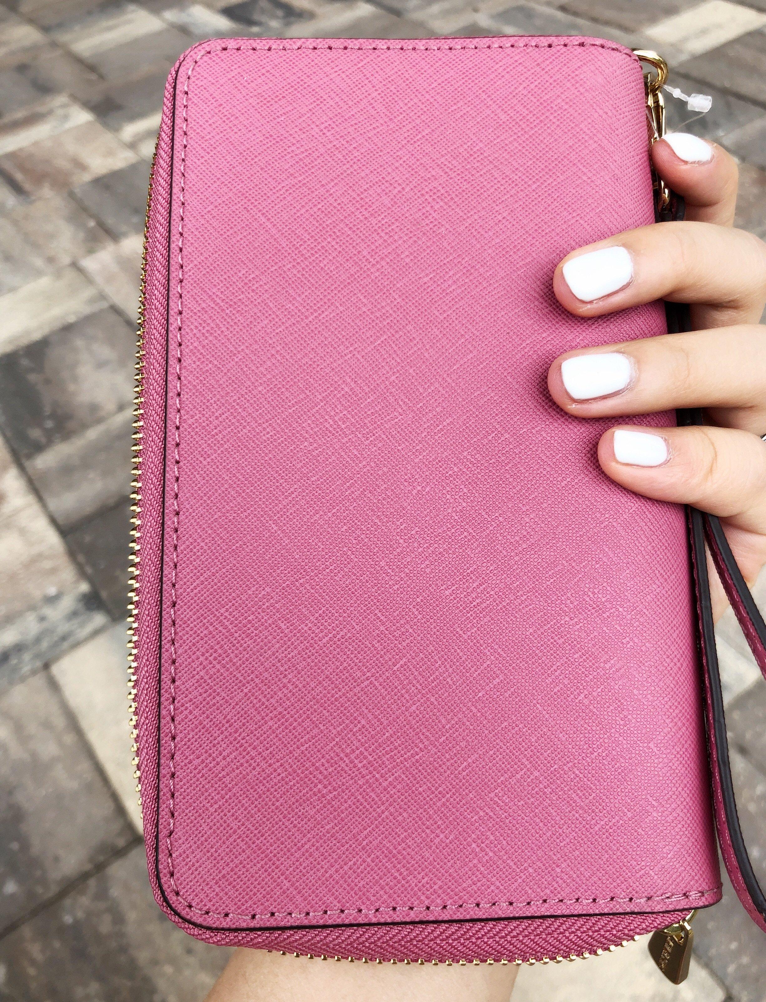 9f7db9ddc0dd Michael Kors Jet Set Travel Wallet Phone Wristlet Tulip Pink Floral ...