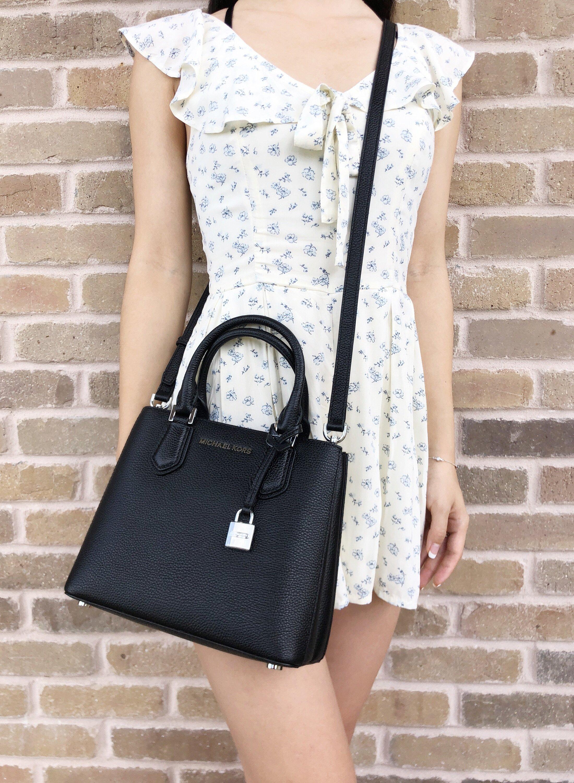 1dcf720afdd4 Michael Kors Adele Mercer Medium Messenger Bag Black Pebbled Leather ...
