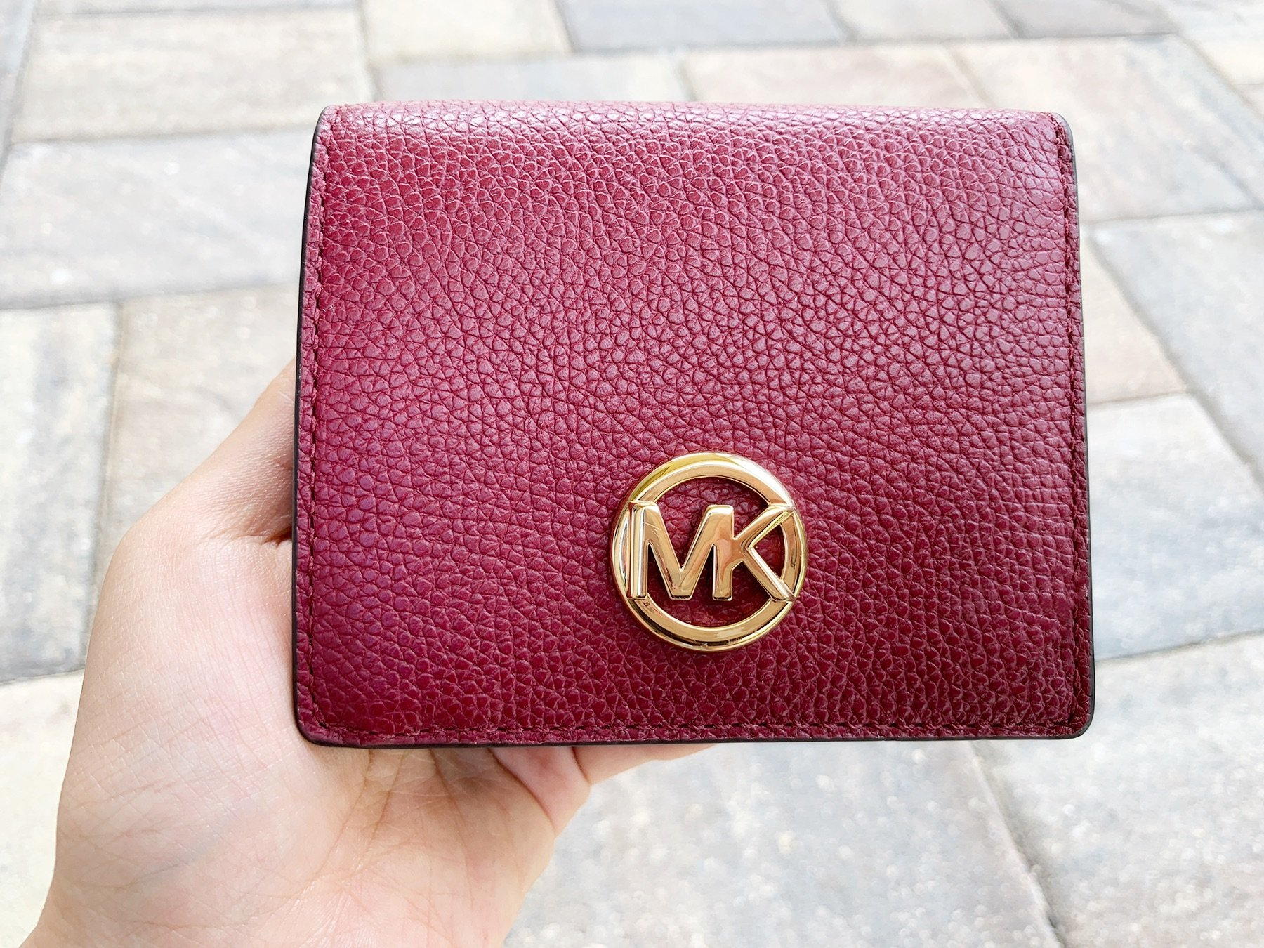 56f992c38a89 Michael Kors Fulton Carryall Card Case Wallet Mulberry Burgundy Leather