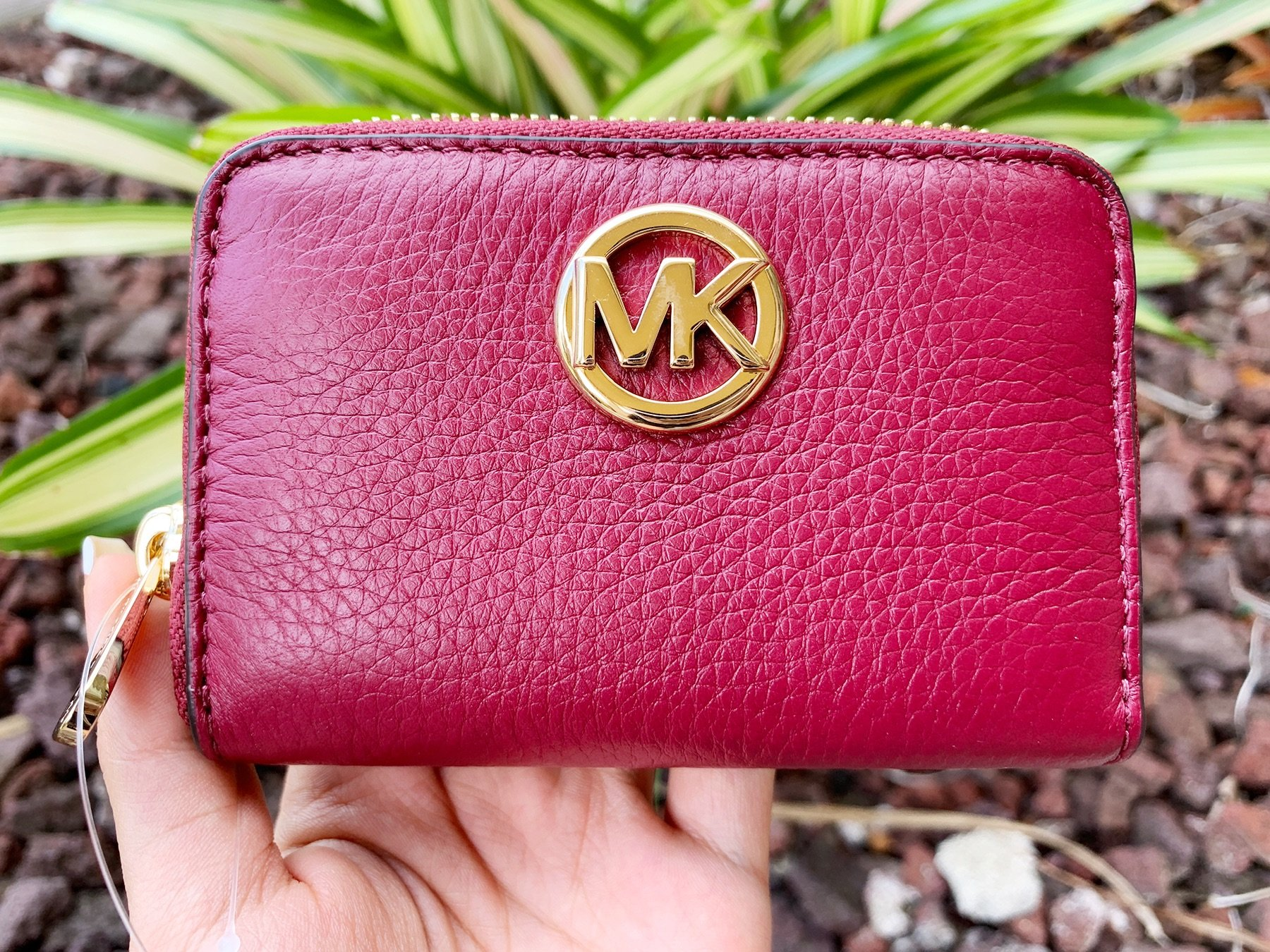 4e6194df5904 Michael Kors Fulton Coin Case Small Wallet Mulberry Burgundy Pebble Leather