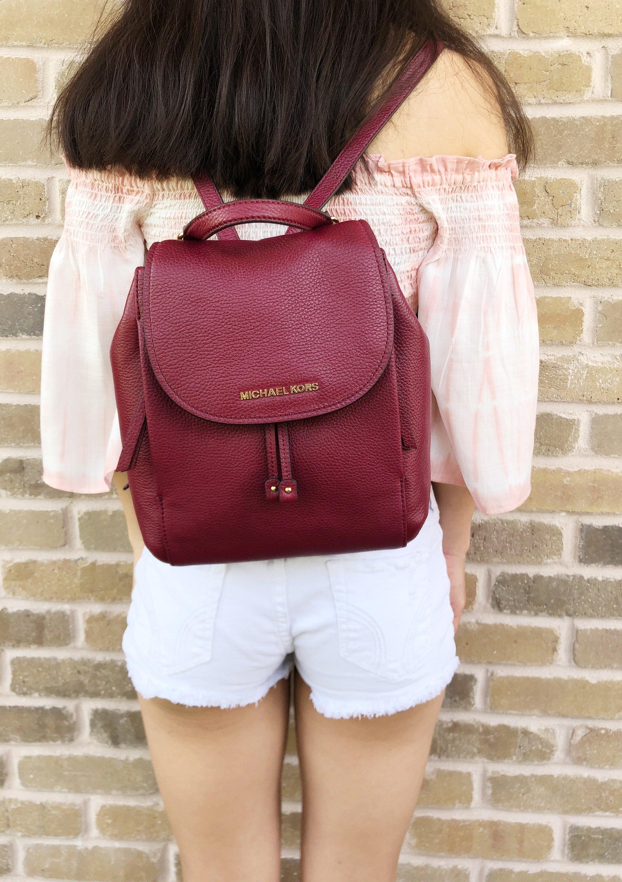 7f37e3a708 Michael Kors Riley Medium Backpack Mulberry Burgundy Drawstring Flap ...