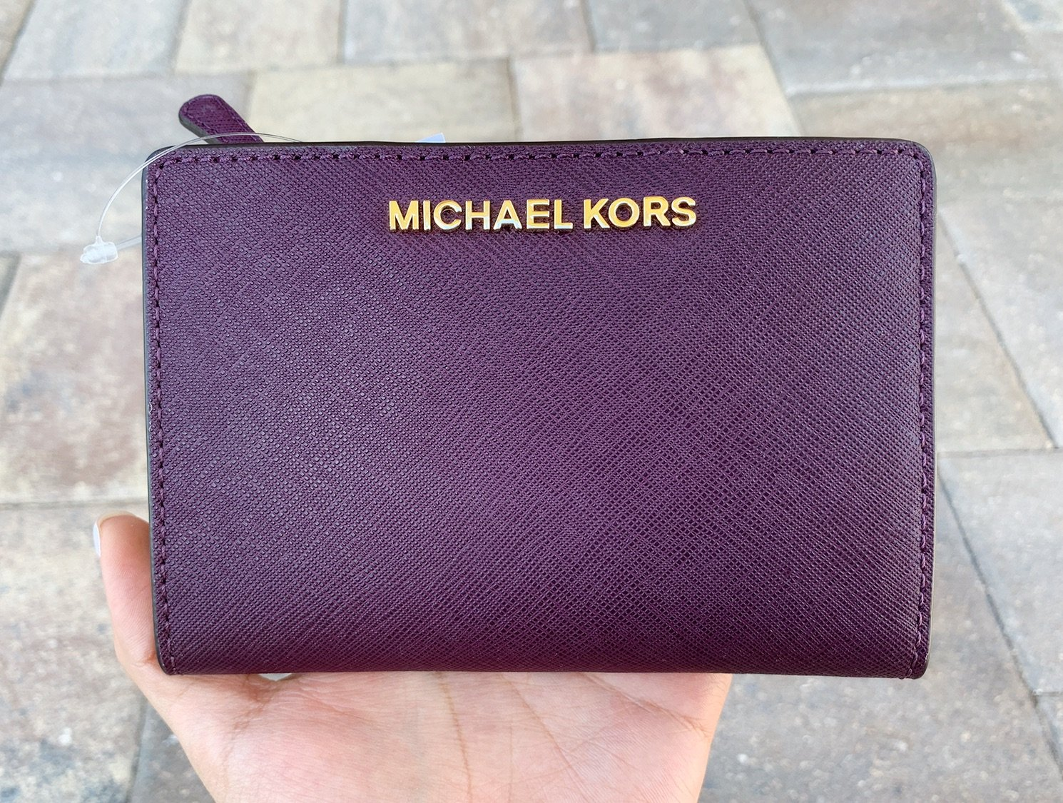 f0e2a3a889aff3 Michael Kors Medium Card Case Carryall Bifold Wallet Damson Purple ID Holder