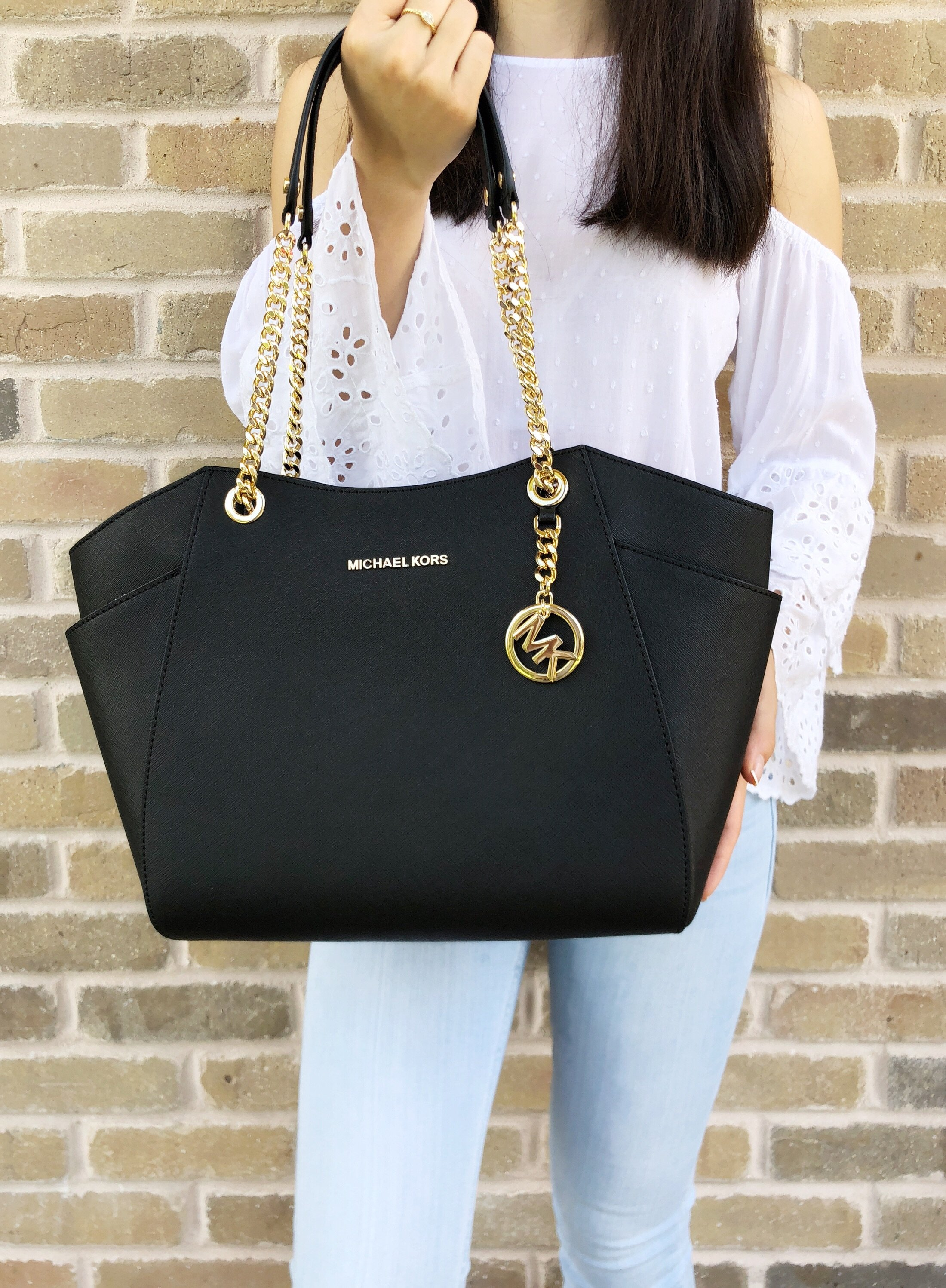 61c1f2dcba45 Michael Kors Jet Set Travel Chain Shoulder Tote Bag Black Saffiano ...