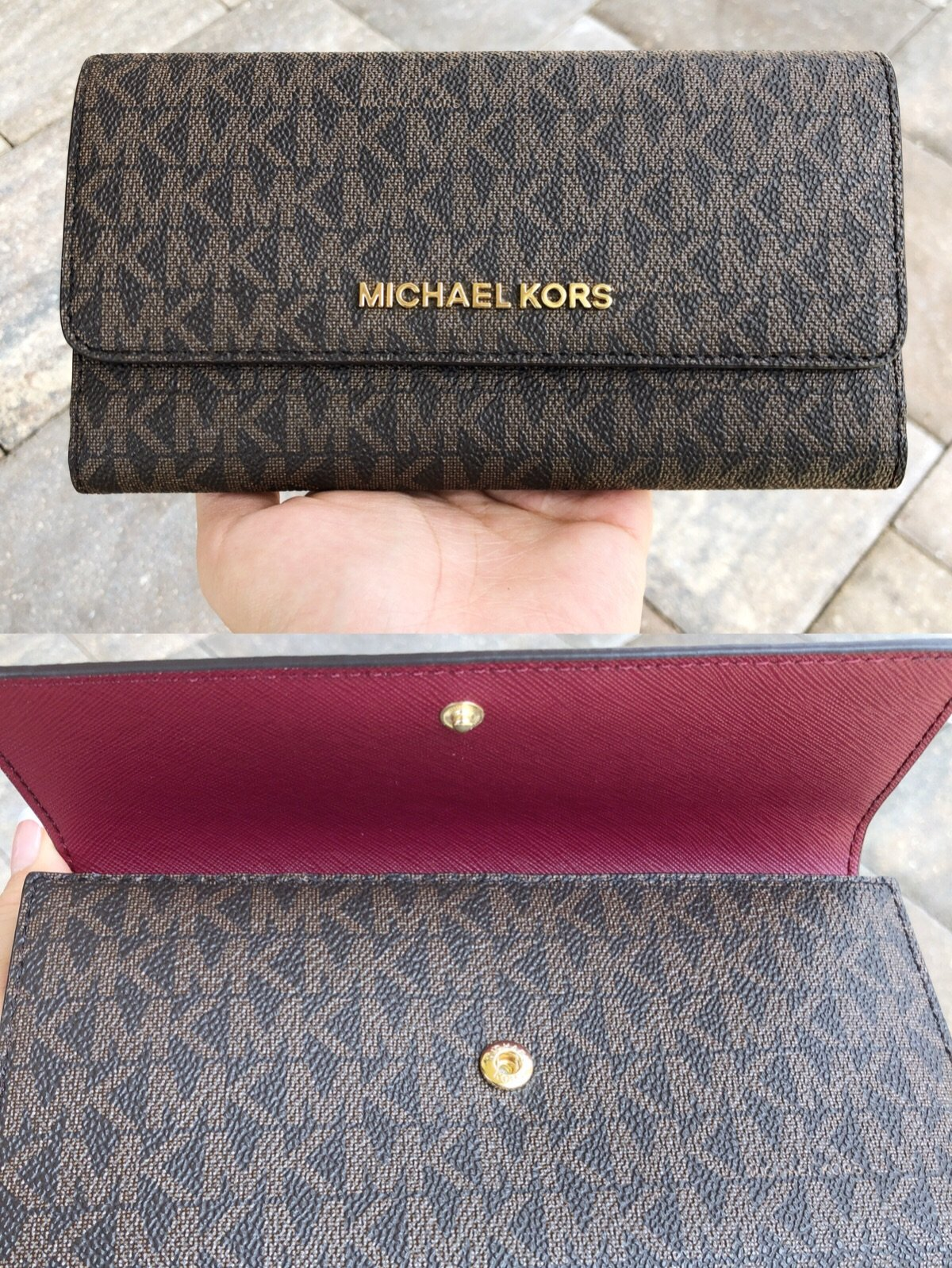 da03bc3a3333a Michael Kors Jet Set Travel PVC Large Trifold Wallet Brown MK Signature  Mulberry