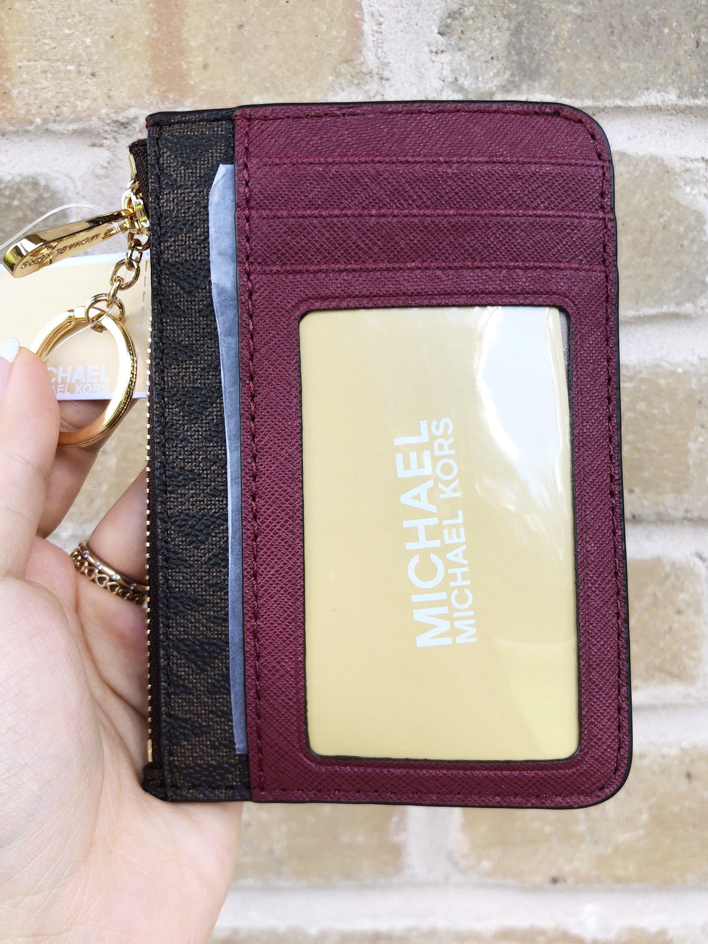 michael kors jet set travel coin wallet id keyring card holder brown rh ebay com