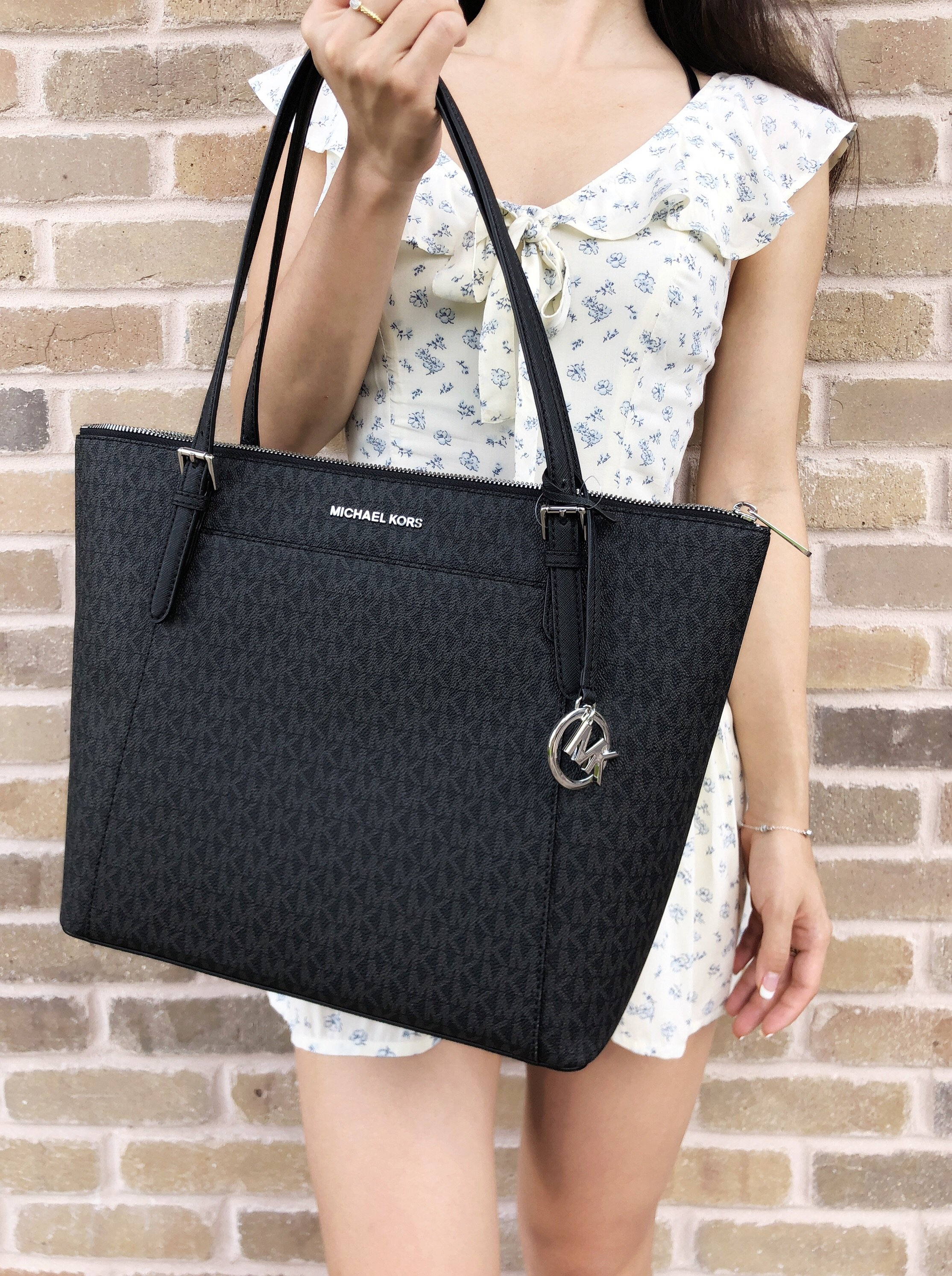 04f3f3f8e7fb Michael Kors Ciara Large East West Top Zip Tote Black MK Signature ...