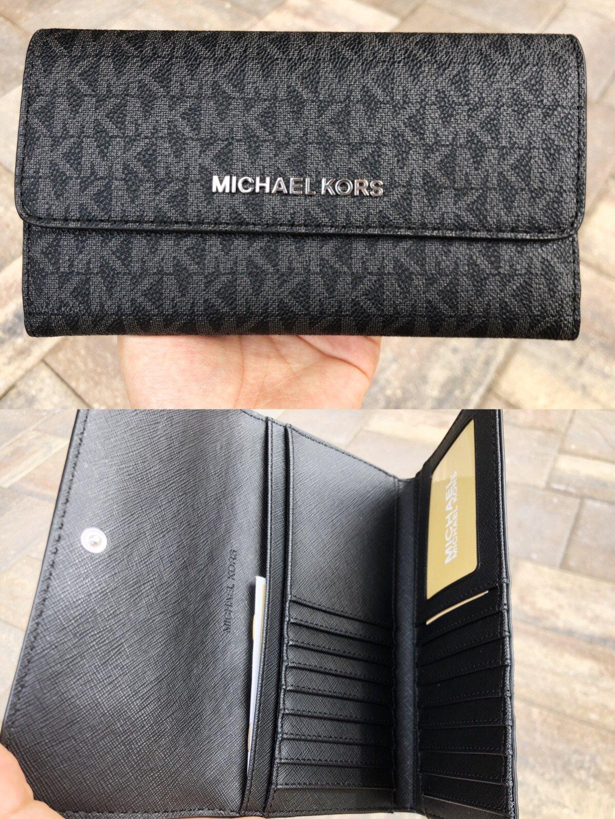 8d8c4fe16cf1 Details about Michael Kors Jet Set Travel Large Trifold Wallet Black  Signature MK