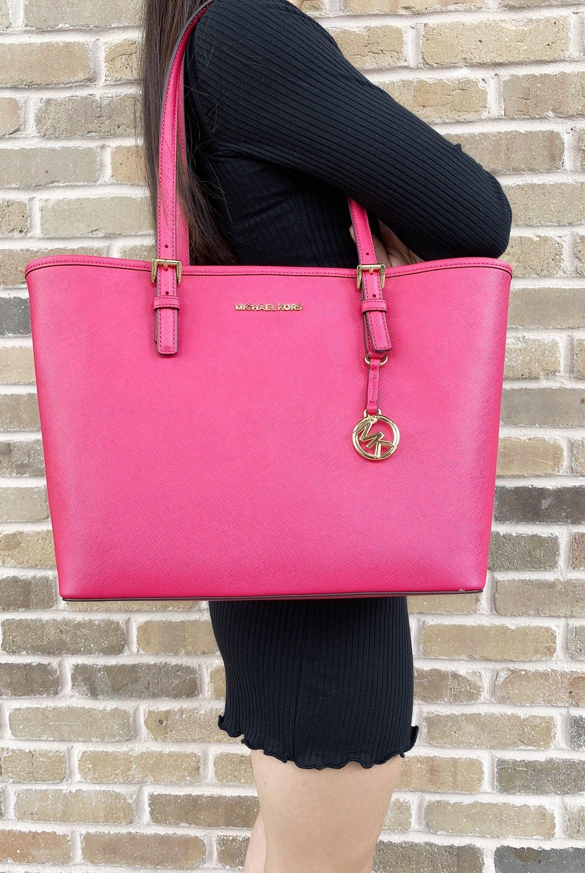 36e739293e Michael Kors Jet Set Travel Medium Carryall Tote Saffiano Leather Pink