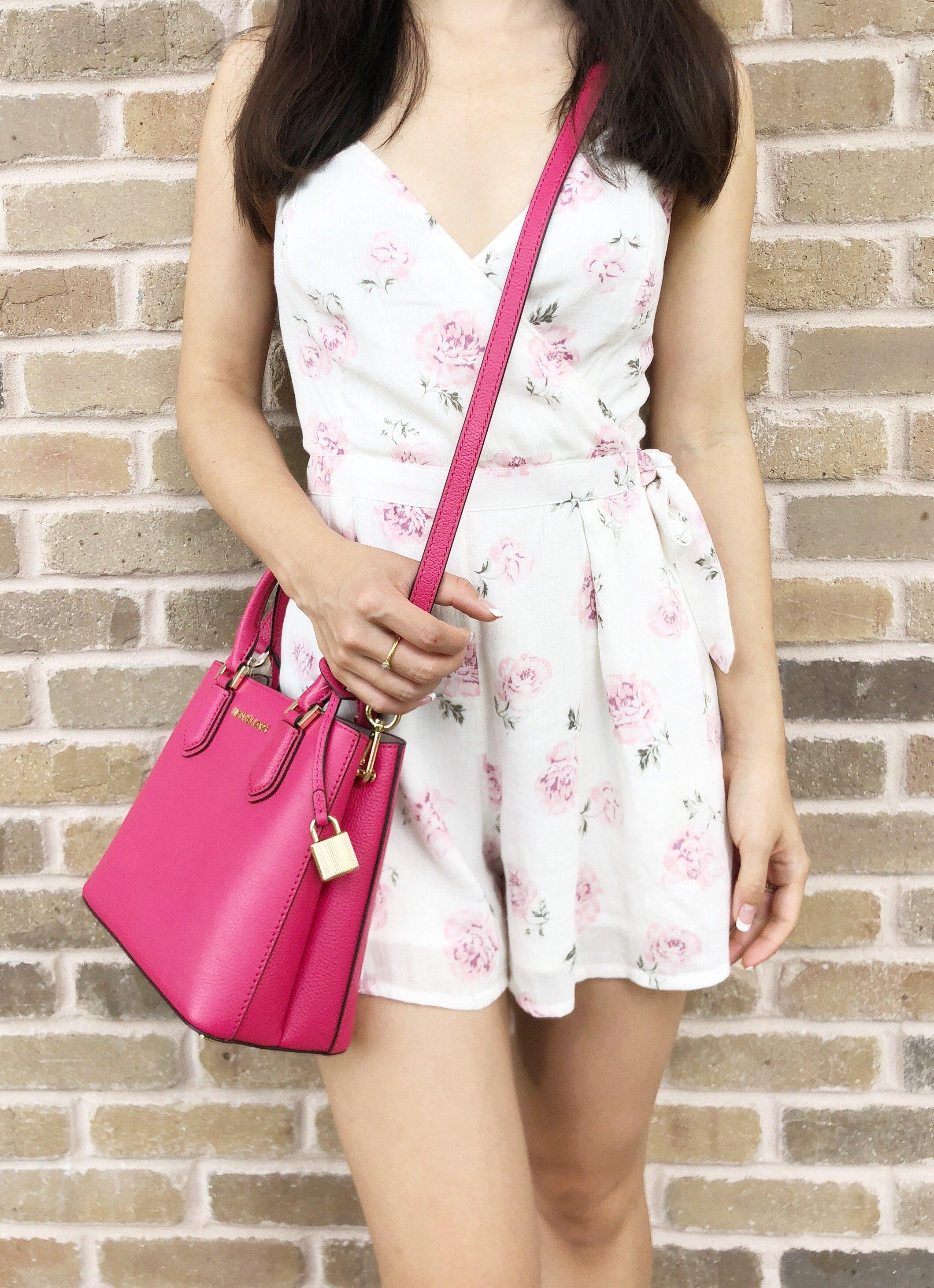 a9e465bbd772 Michael Kors Adele Mercer Medium Messenger Bag Ruben Red Hot Pink ...