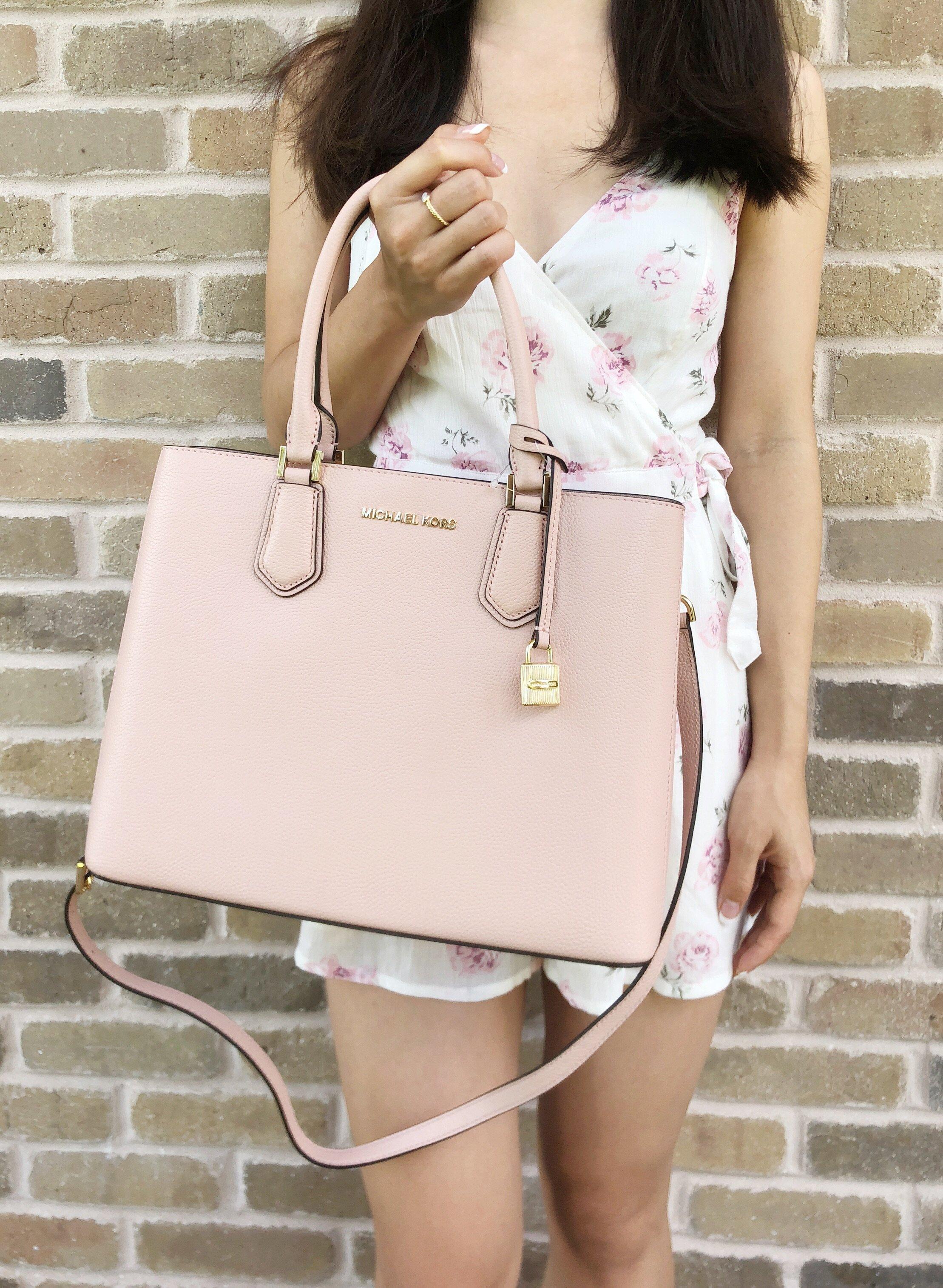 a0c9c9ae2433 Michael Kors Adele Mercer Large Satchel Pastel Pink Ballet Leather ...