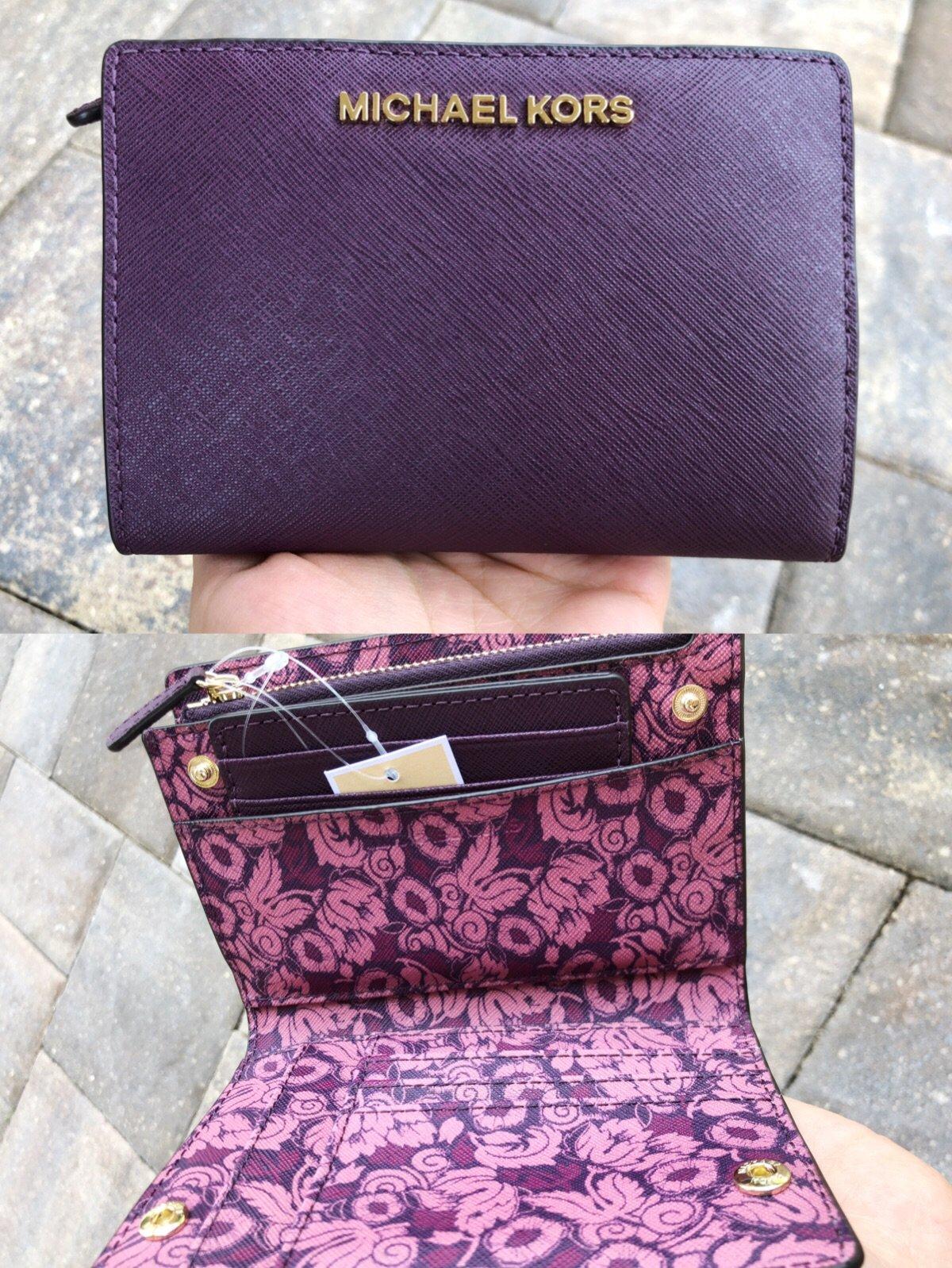 73a5d157a29dc Michael Kors Medium Card Case Carryall Wallet Damson Mulberry Floral ...