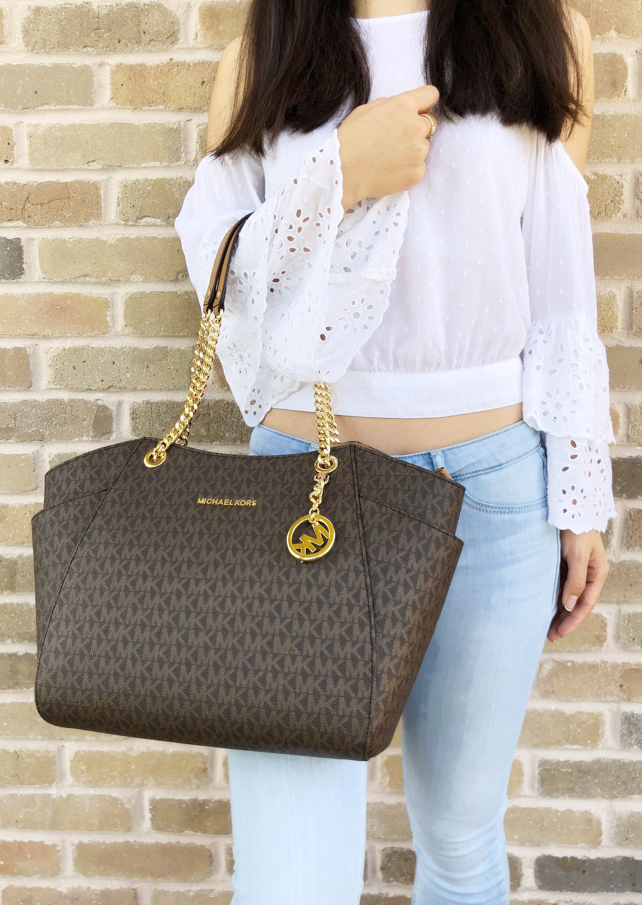 7f29a5fe84d3 Michael Kors Jet Set Travel Chain Shoulder Tote Bag Brown MK 2018 ...