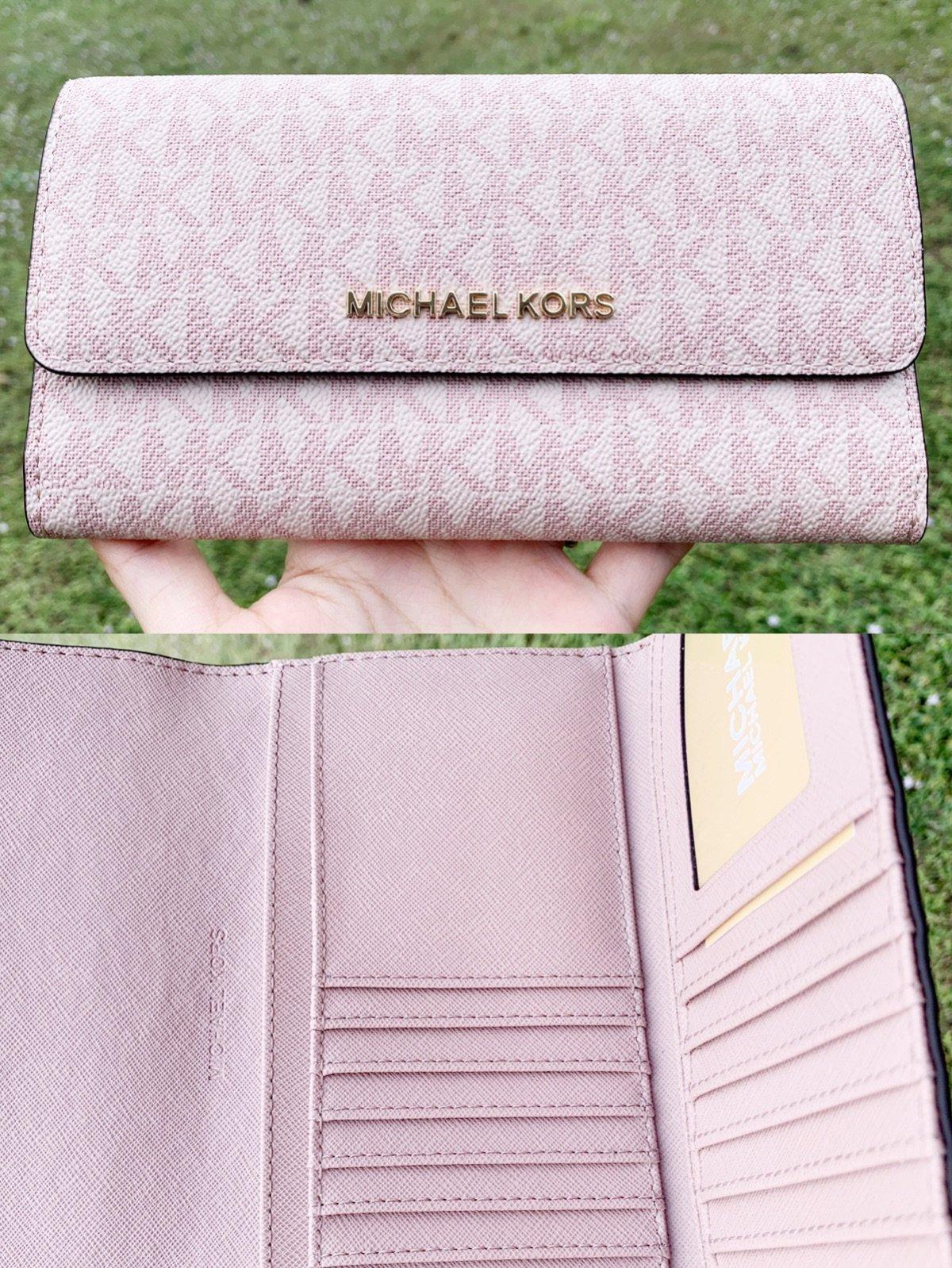 Details about Michael Kors Jet Set Travel PVC Large Trifold Wallet Fawn MK Ballet Pink