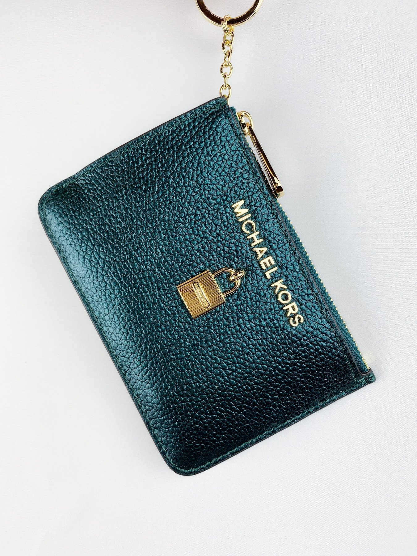 0d78aa1079560d Michael Kors Jet Set Travel Zip Coin Wallet ID Keyring Card Holder Deep Teal