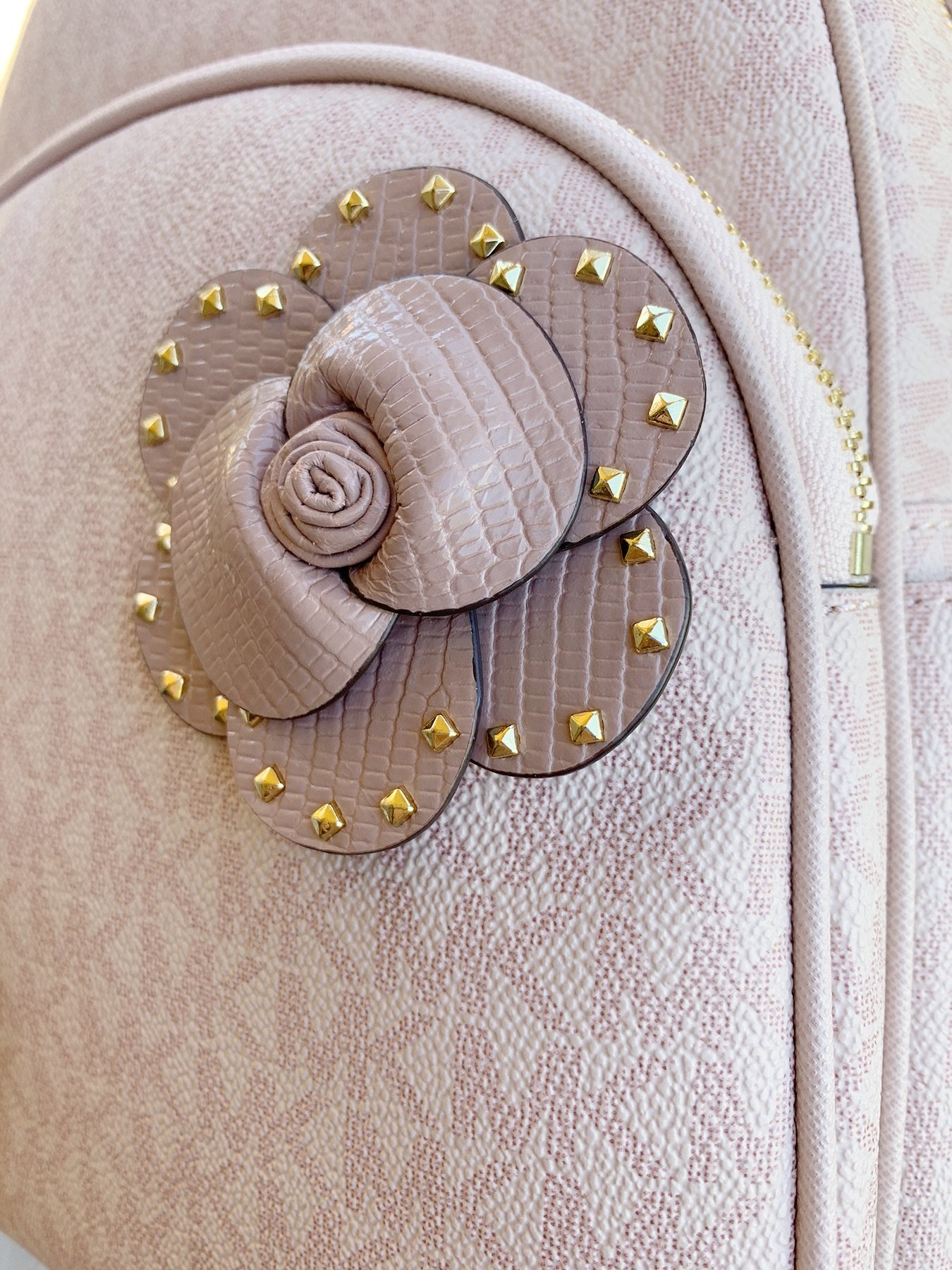 dde081654367 Michael Kors Abbey Medium Backpack Ballet Pink MK Signature Flower ...