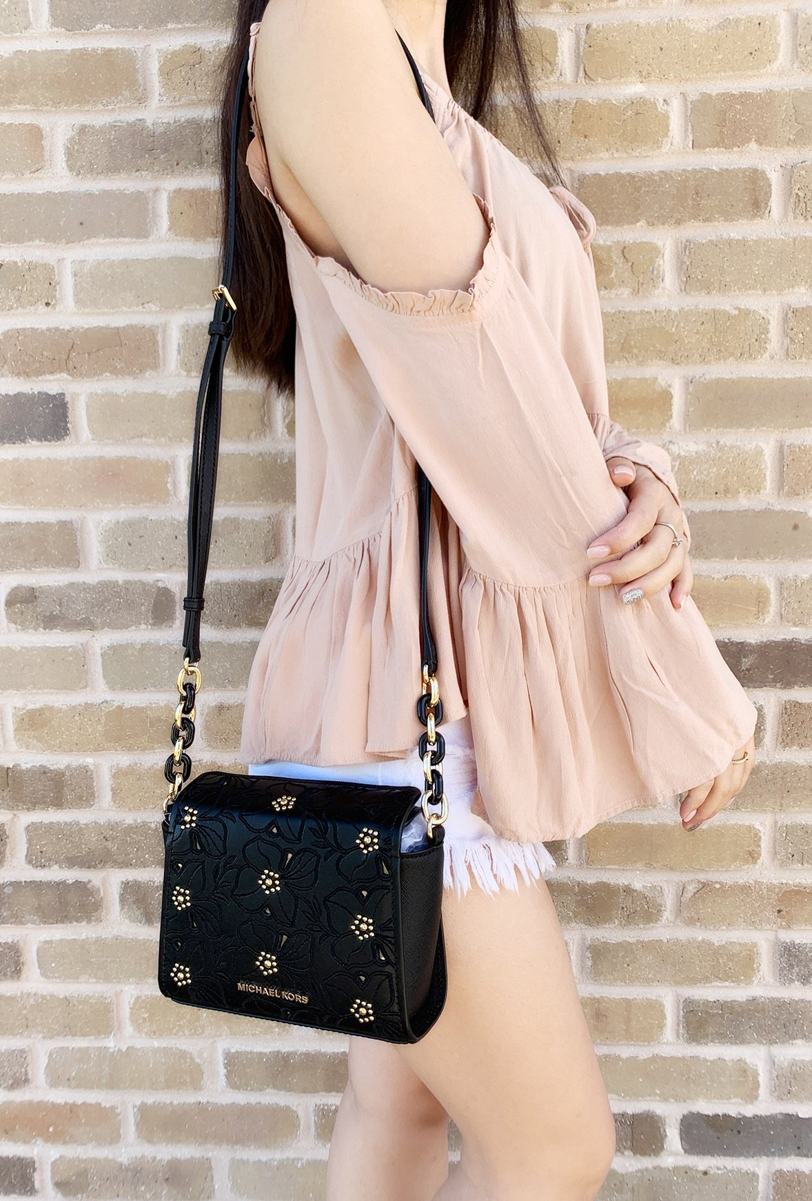 cae1d291a611 Michael Kors Sofia Small Crossbody Black Pale Gold Perforated Floral Studded