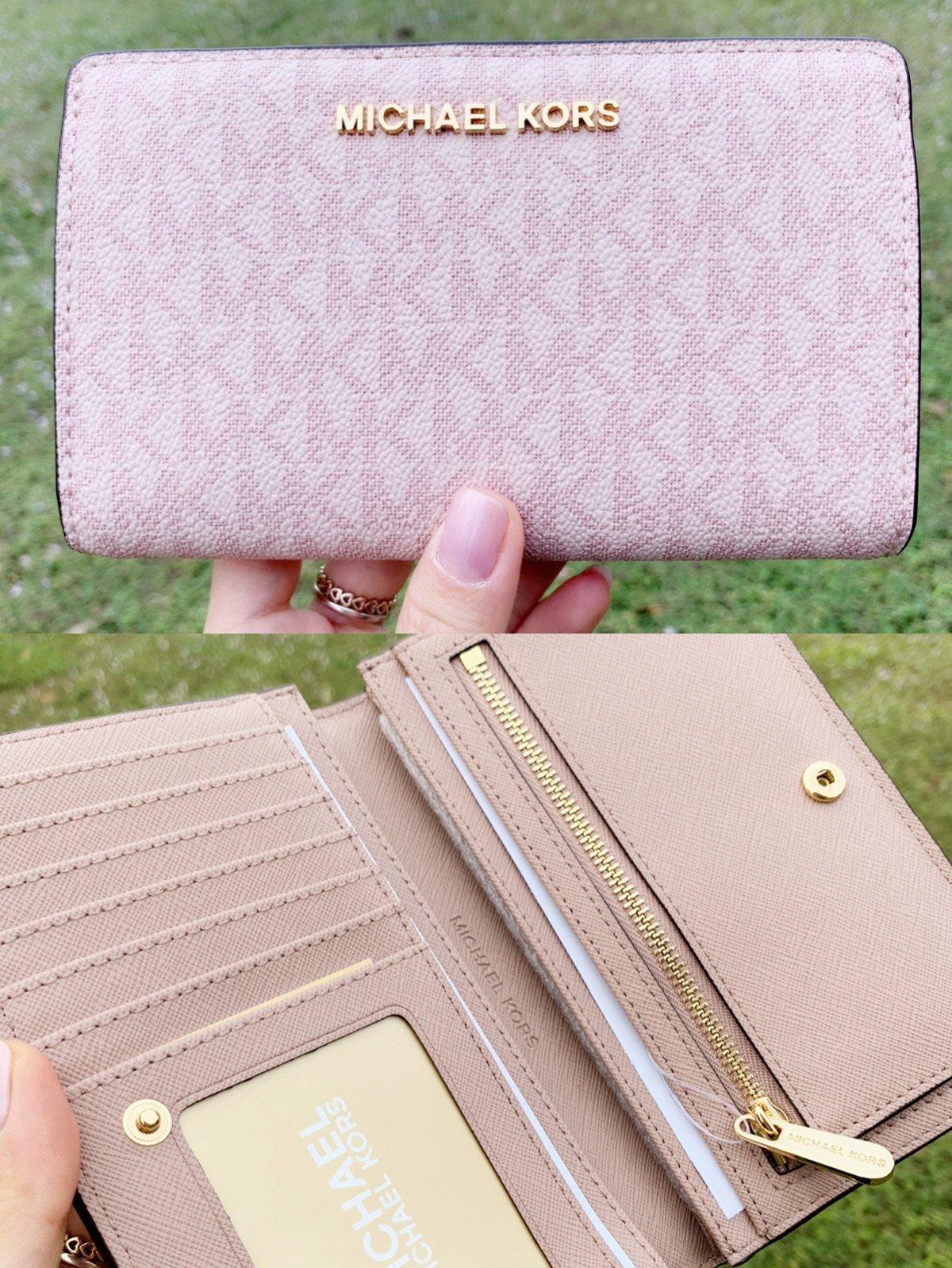 1f4371e5953a Michael Kors Jet Set Travel PVC Slim Bifold Wallet Fawn MK Ballet Pink