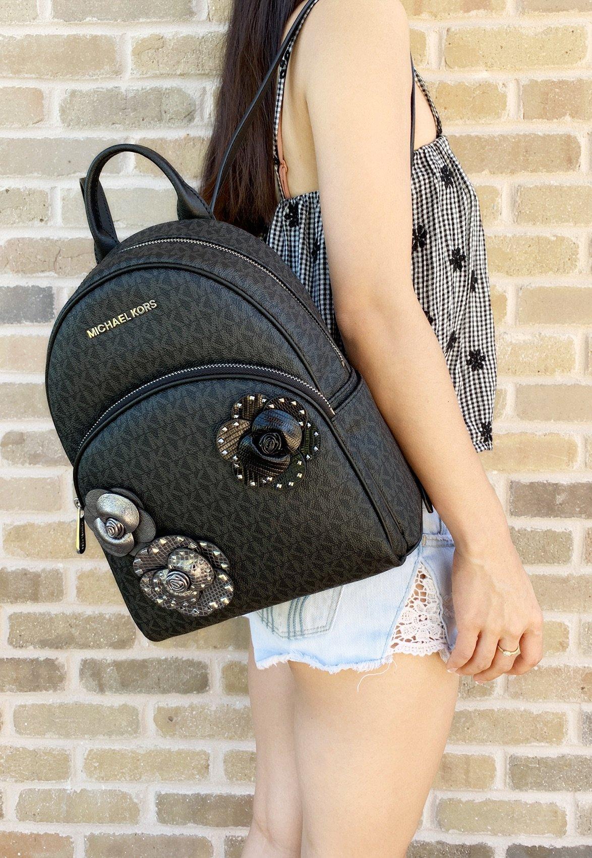 fb5acd93a6e8ab Details about Michael Kors Abbey Medium Backpack Black MK Signature Flower  School Bag