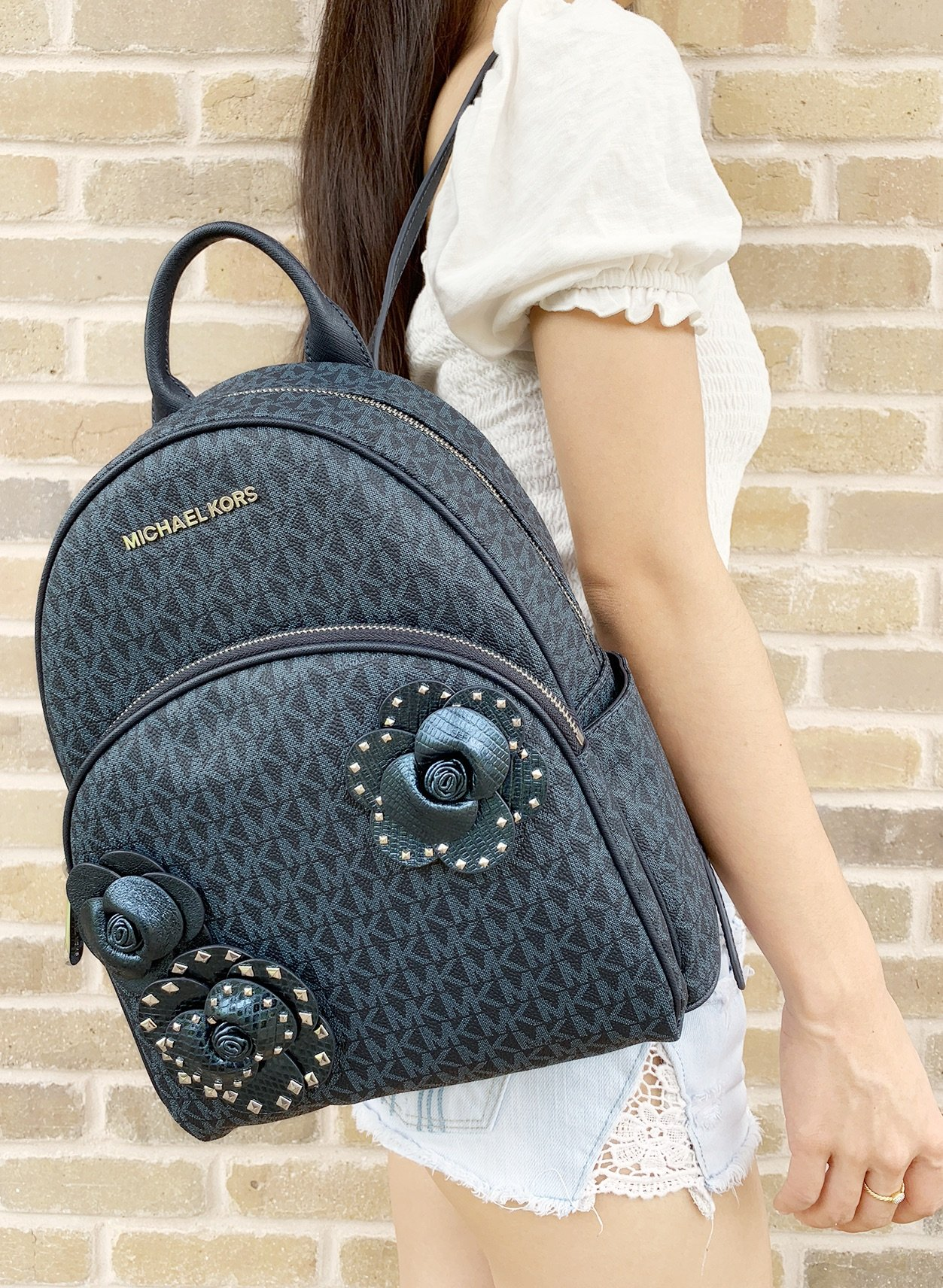 759c976fe4eaa8 Details about Michael Kors Abbey Medium Backpack Admiral Blue MK Signature  Flower School Bag