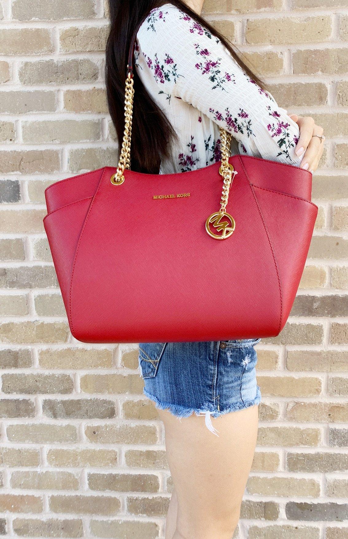 d7115de4115d Michael Kors Jet Set Travel Chain Shoulder Tote Bag Scarlet Red Saffiano  Leather
