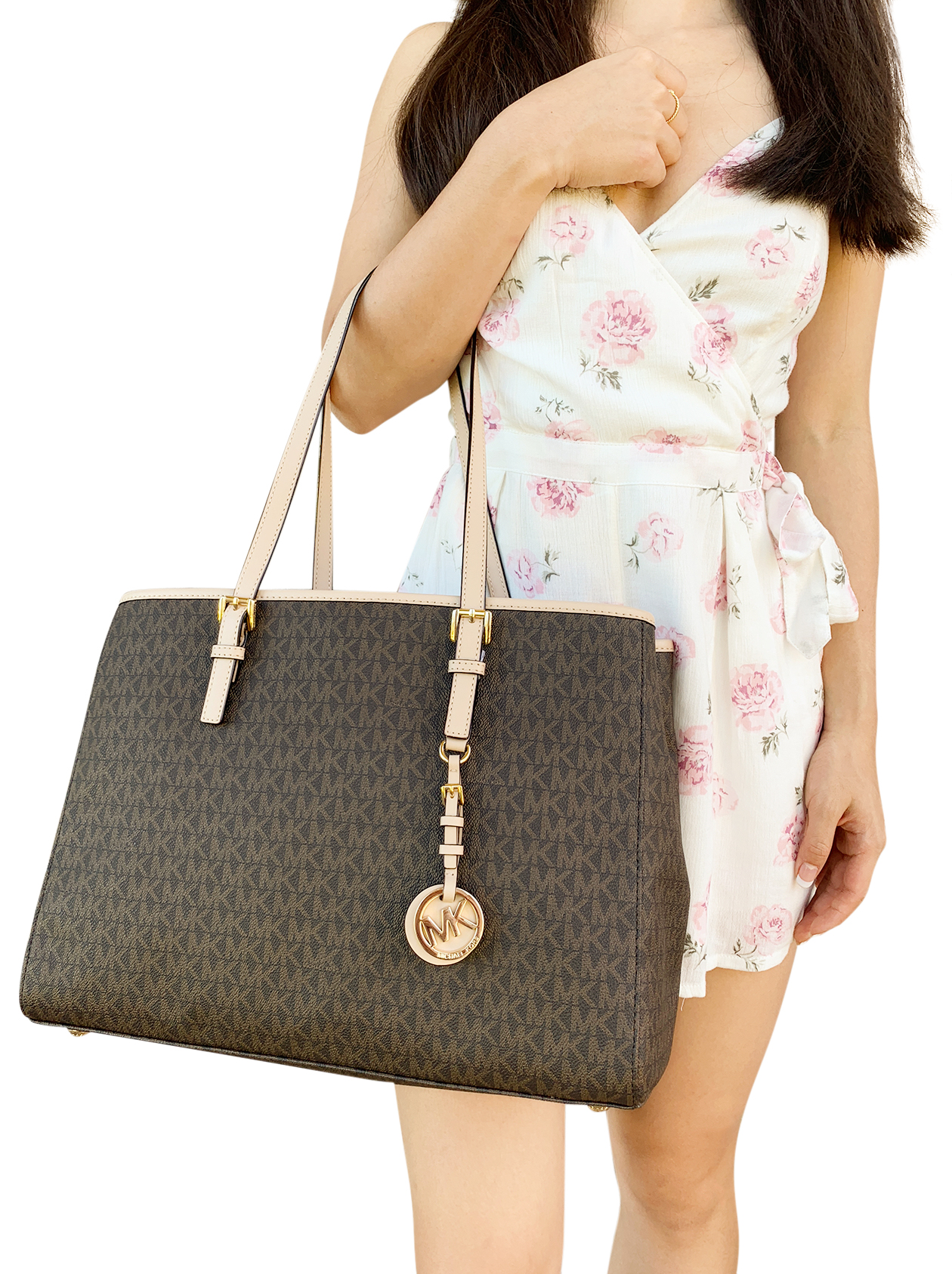 a47555547 Michael Kors Jet Set Travel Large East West Tote Brown Mk Signature ...