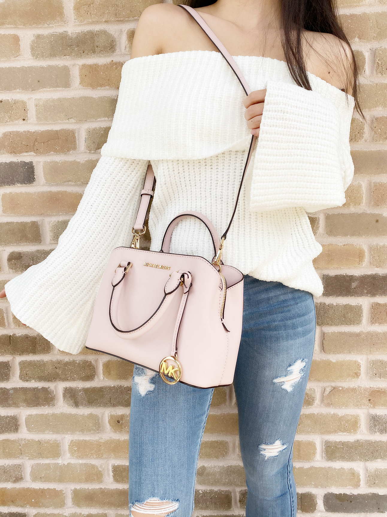 Details about Michael Kors Savannah Small Satchel Leather Crossbody Handbag Blossom