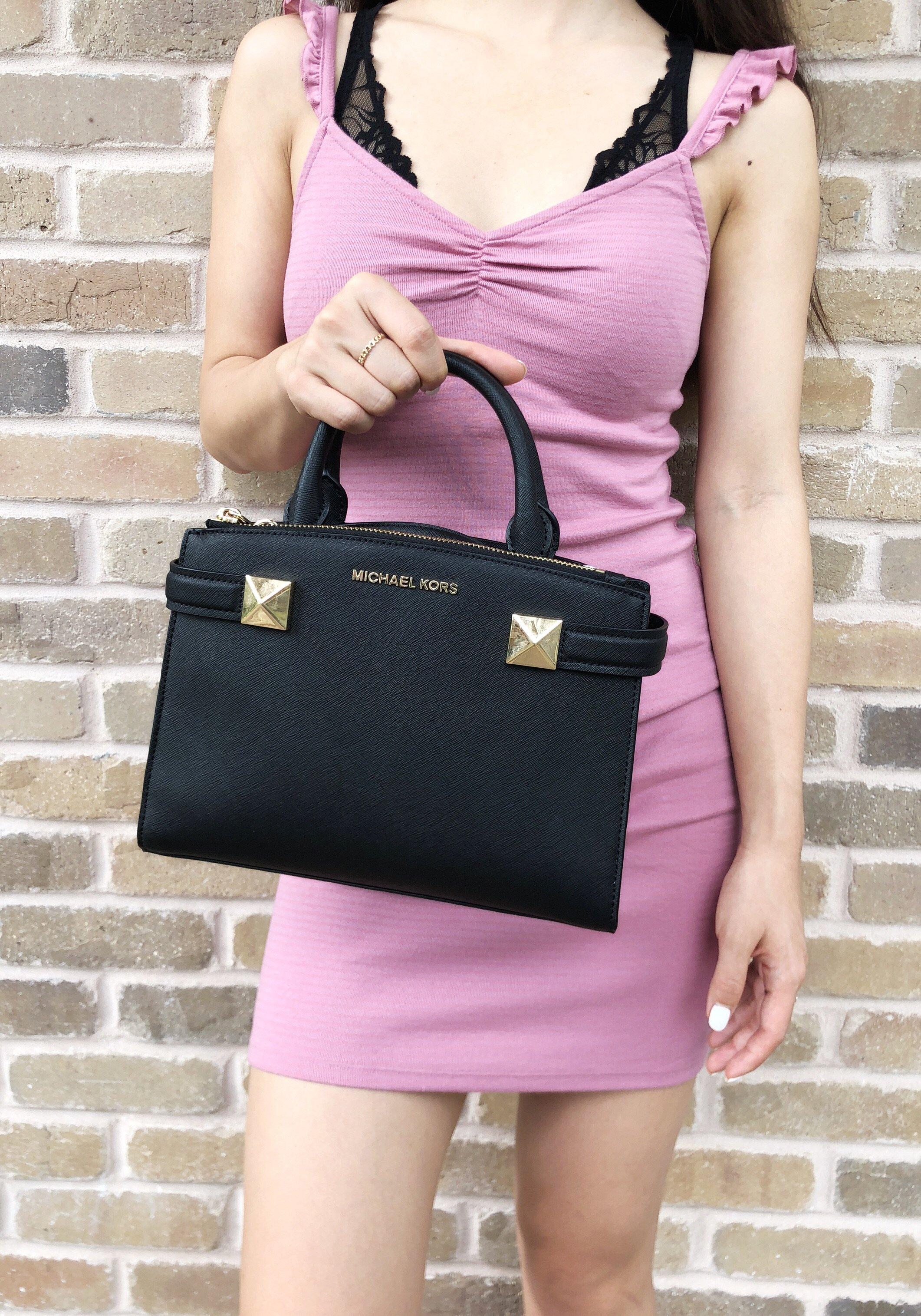 9e0e0569595d96 Michael Kors Karla Small East West Satchel Bag Black Leather 2 2 of 8 ...