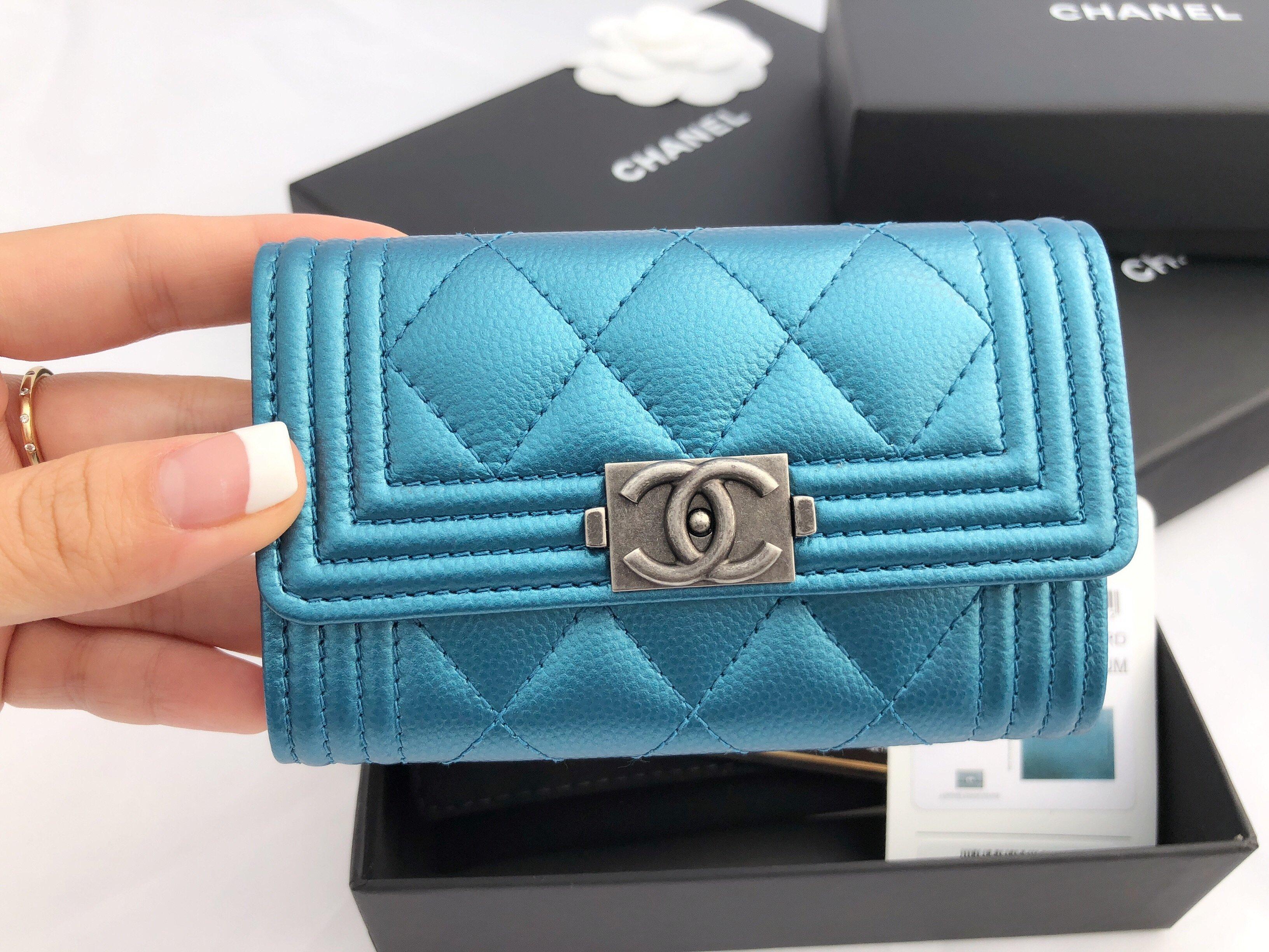 aadf77ff4693 NWT Chanel Boy Caviar Flap Flat O Card Holder O Case Wallet Metallic  Turquoise