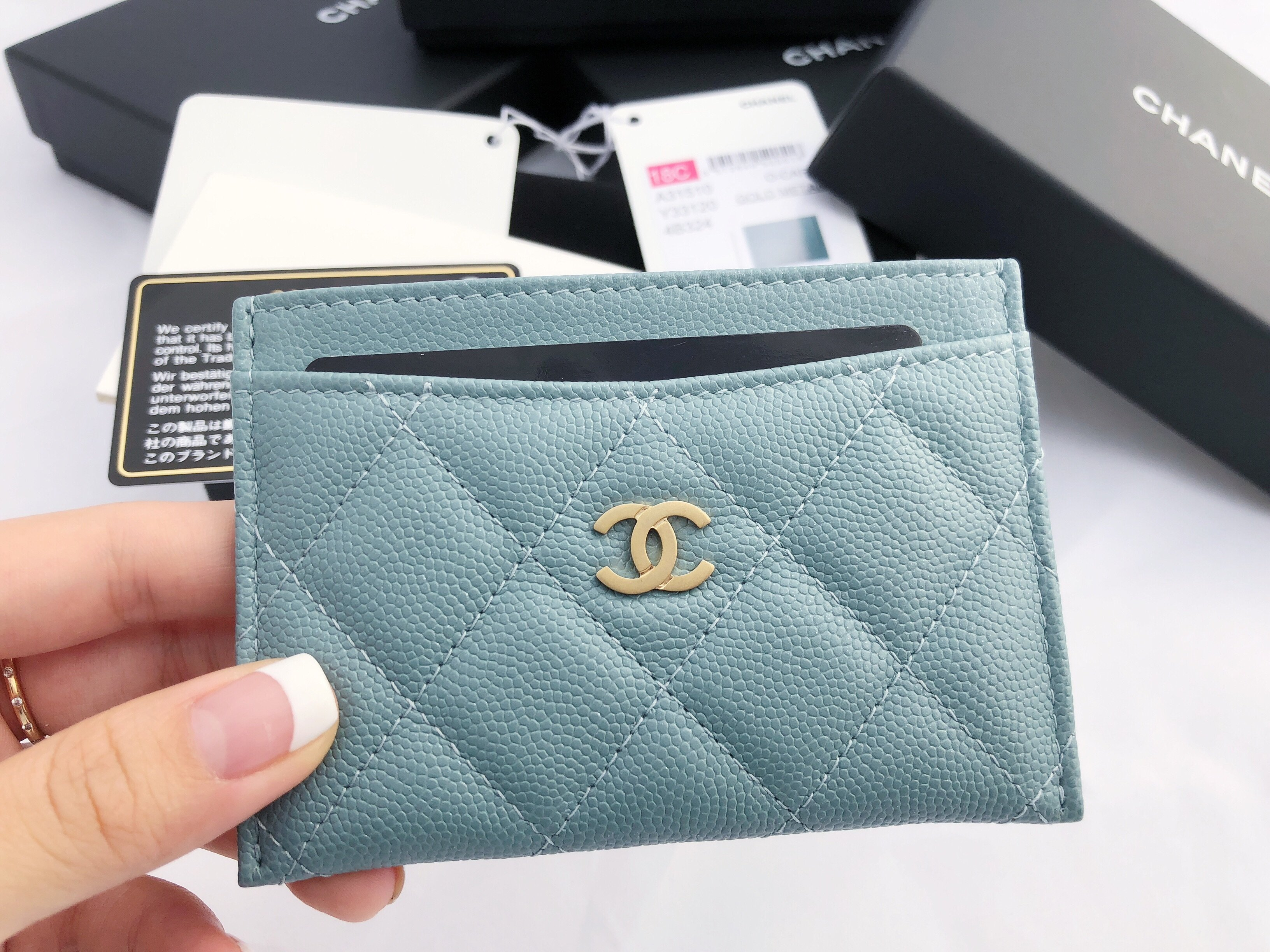 newest cabc0 3878e Details about NWT Chanel Caviar Gray Turquoise Light Blue O-Card Holder  O-Case Wallet 18C